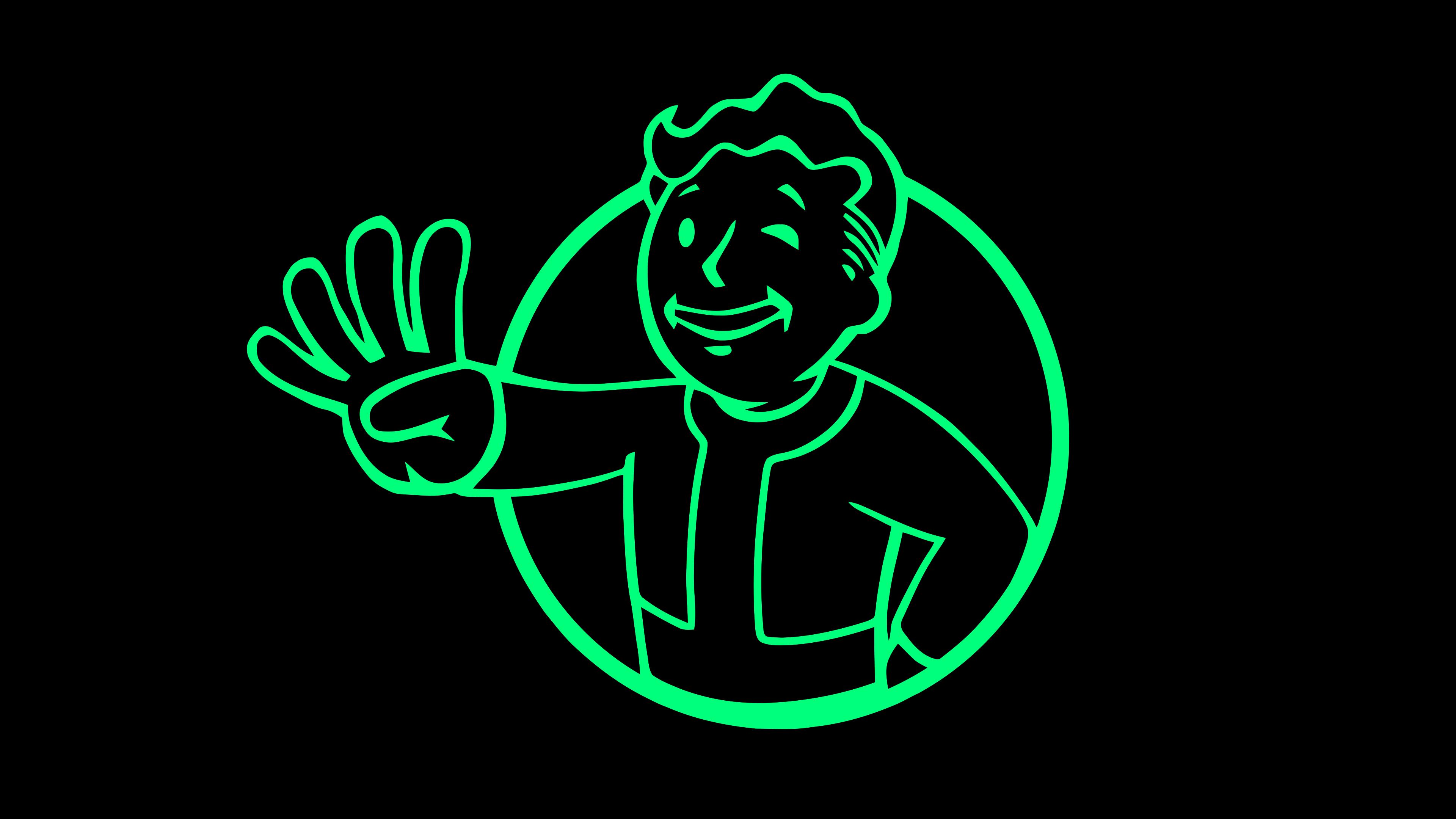 General 3840x2160 Fallout Fallout 4 Vault Boy vector vector art video games green black background black