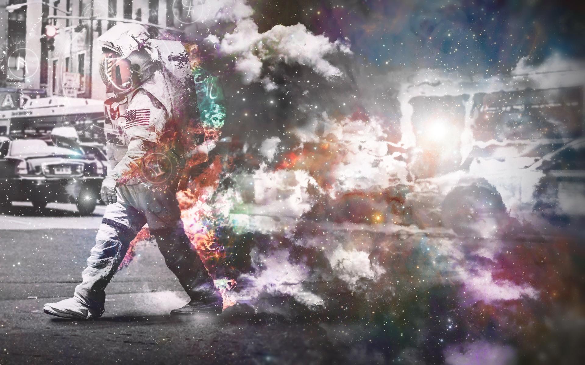 General 1920x1200 space suit digital art astronaut city