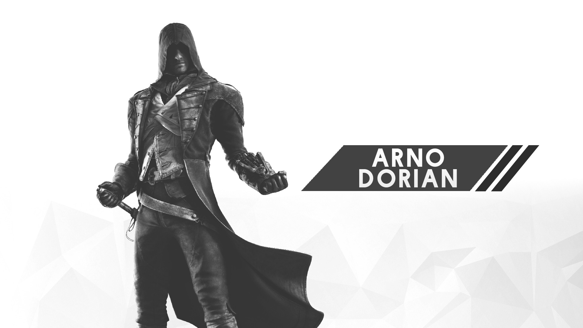 General 1920x1080 Assassin's Creed digital art minimalism 2D white white background video games Arno Dorian Assassin's Creed:  Unity