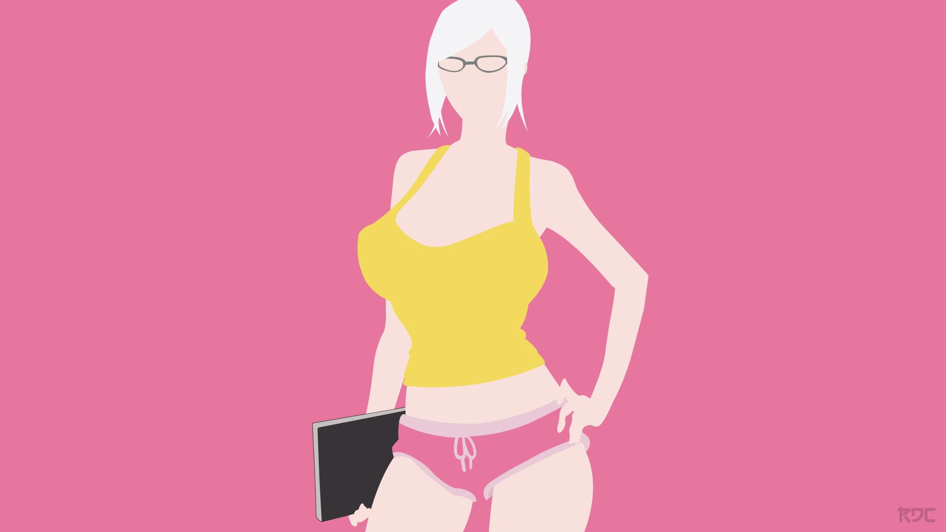 Anime 1920x1080 Prison School anime girls Shiraki Meiko blonde huge breasts big boobs women with glasses glasses short shorts tank top yellow tank top cleavage pink
