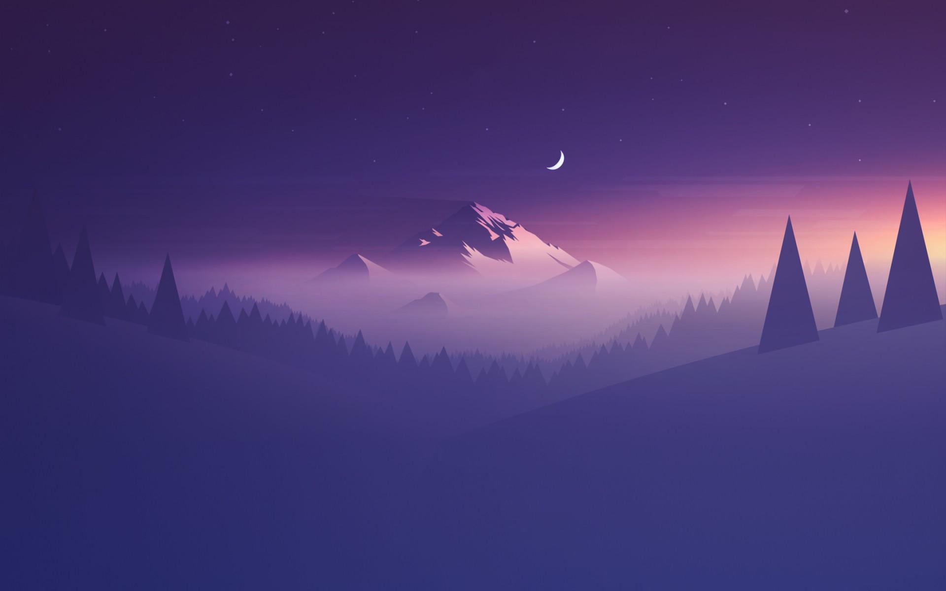 General 1920x1200 mountains trees Moon landscape stars artwork minimalism mist
