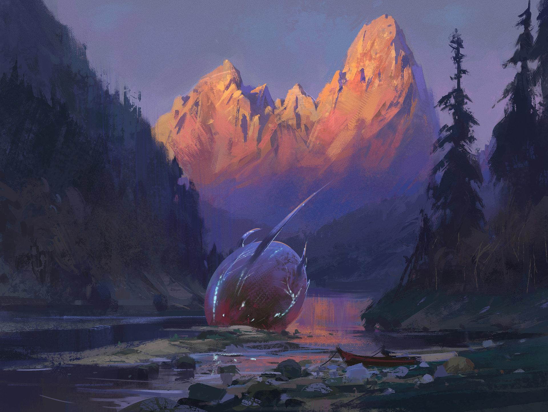 General 1920x1445 nature landscape digital art sunset Nikolai Litvinenko boat mountains trees fantasy art forest