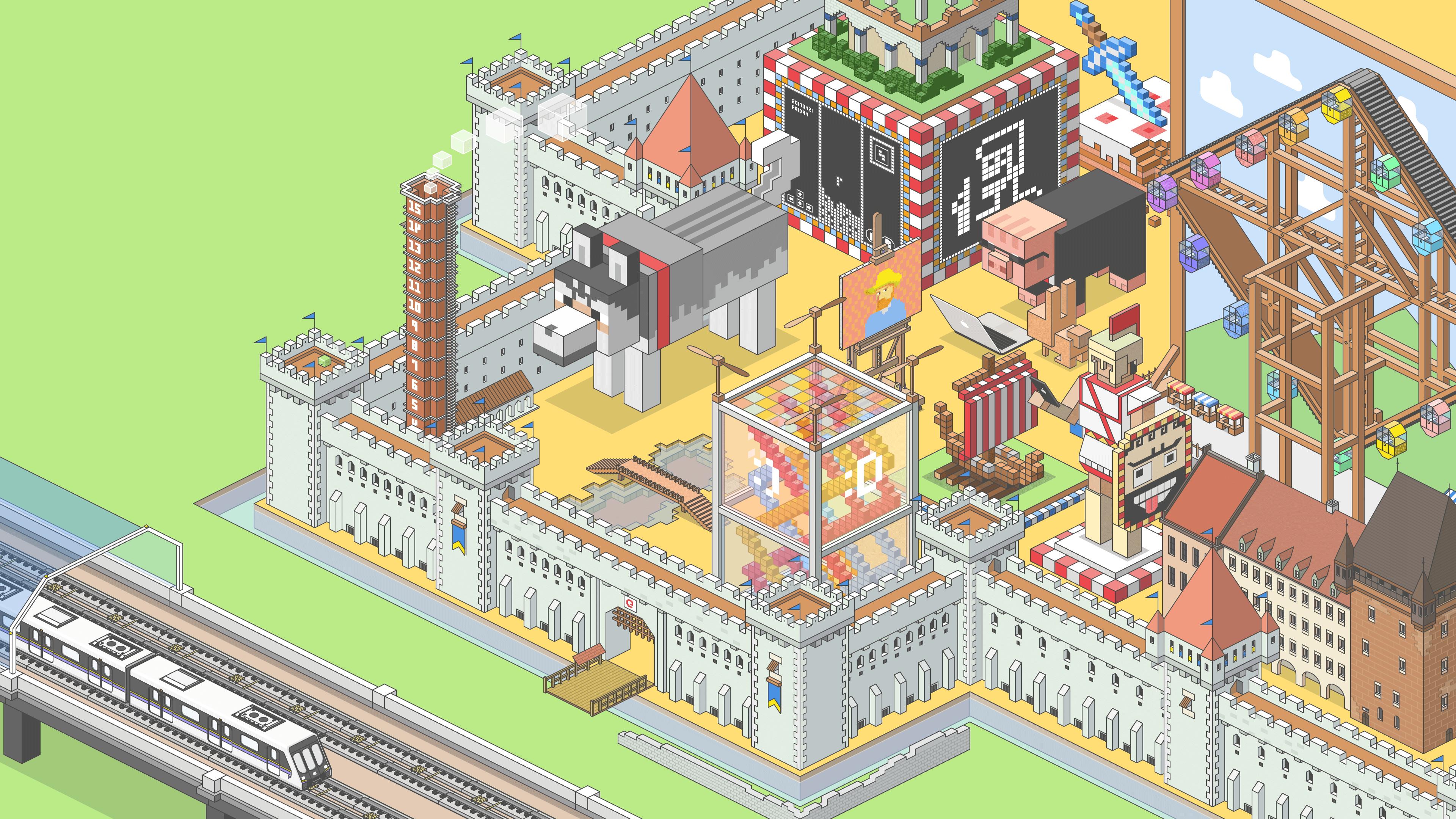 General 3840x2160 qianka pixel art flat art Minecraft