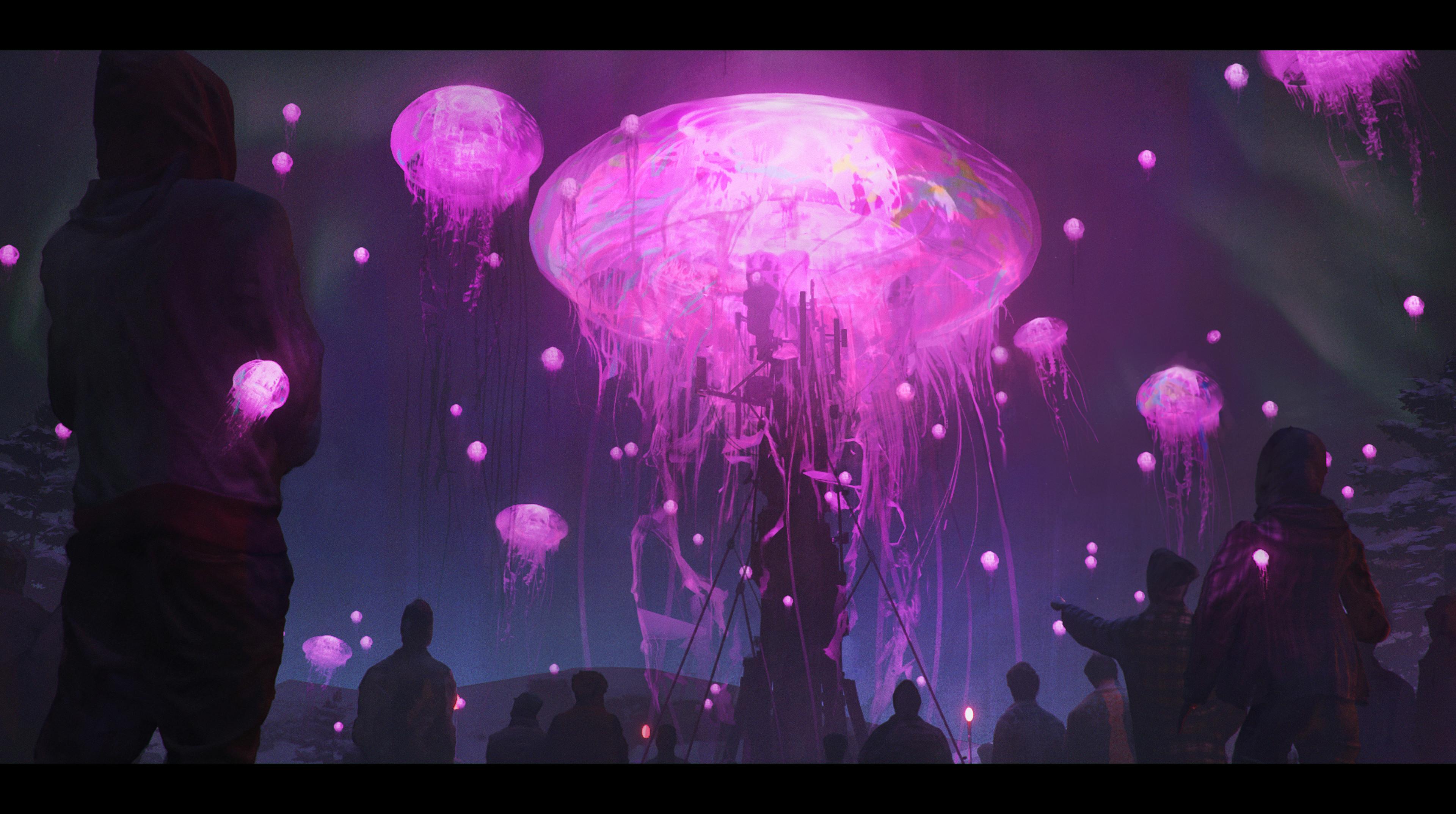 General 3840x2148 artwork digital art fantasy art jellyfish