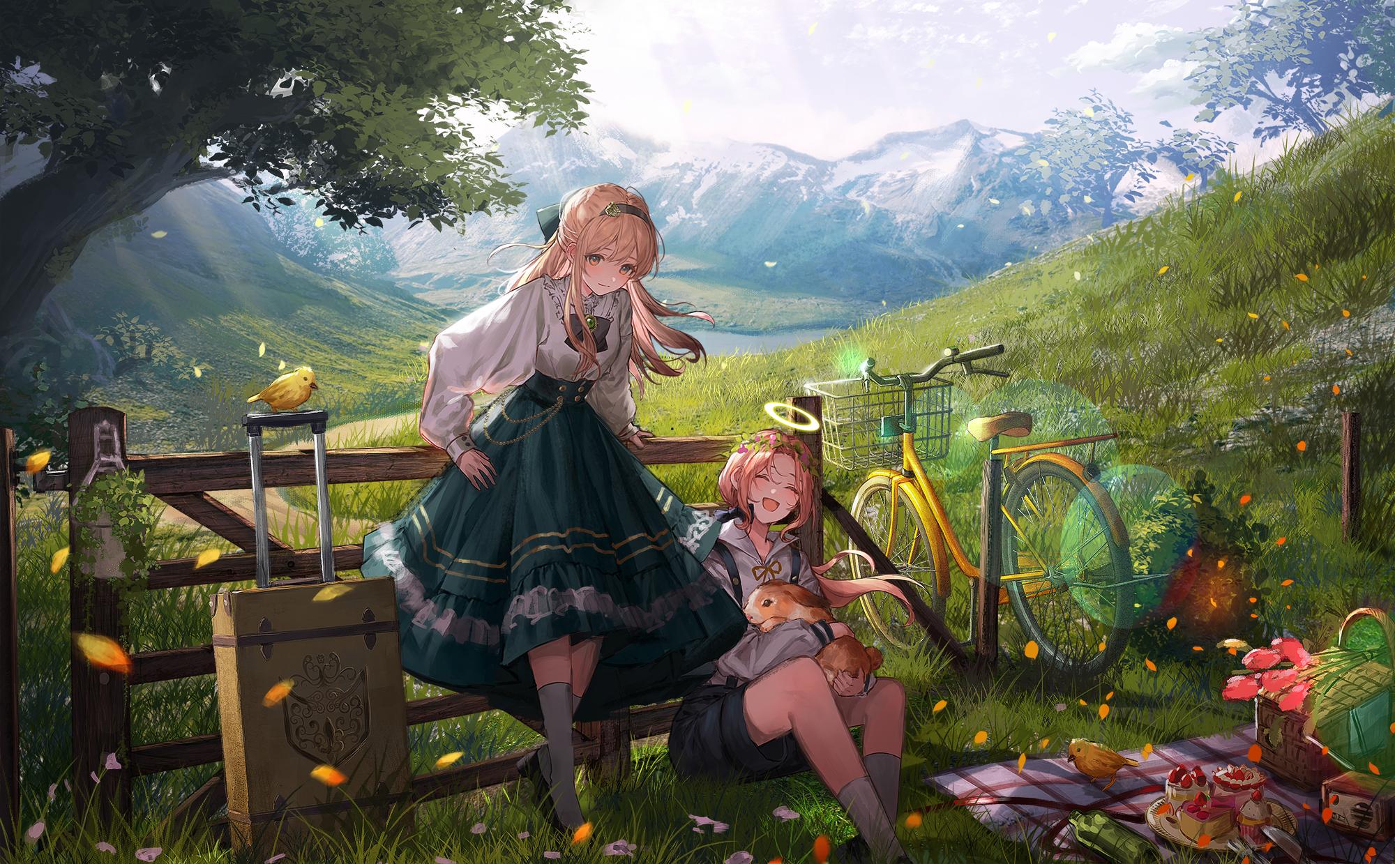 Anime 2000x1239 blonde Lentain artwork anime girls nimbus pink hair landscape angel halo