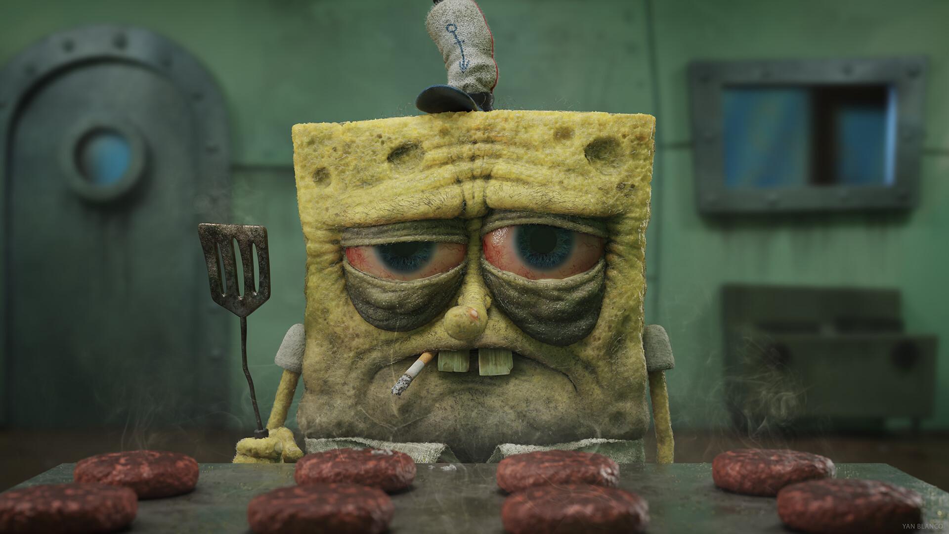 General 1920x1080 Yan Blanco spongebob cigarettes fast food hamburgers stove digital art