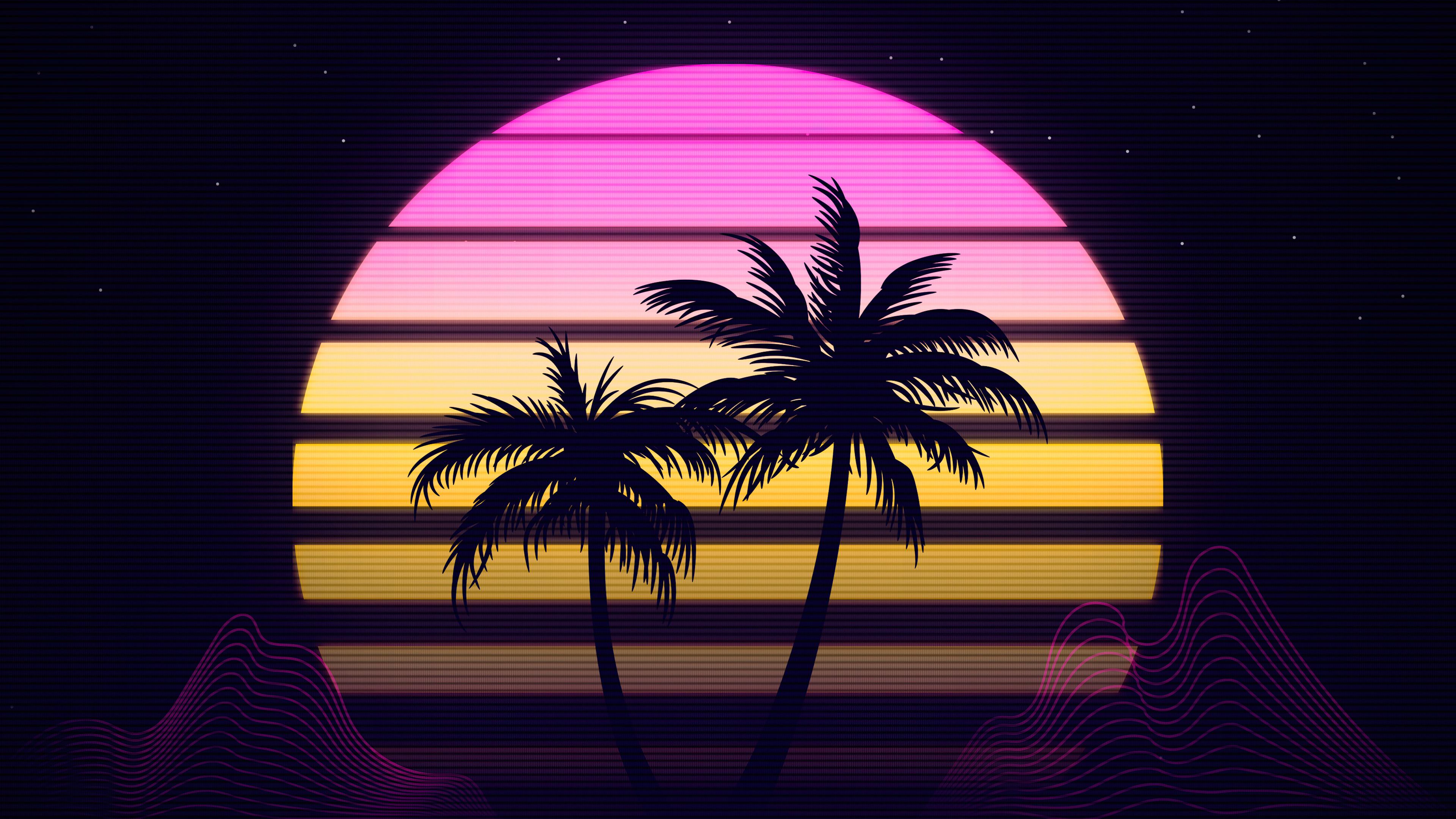 General 3840x2160 trees Retrowave 4K artwork digital art # perfection CGI render neon sky stars