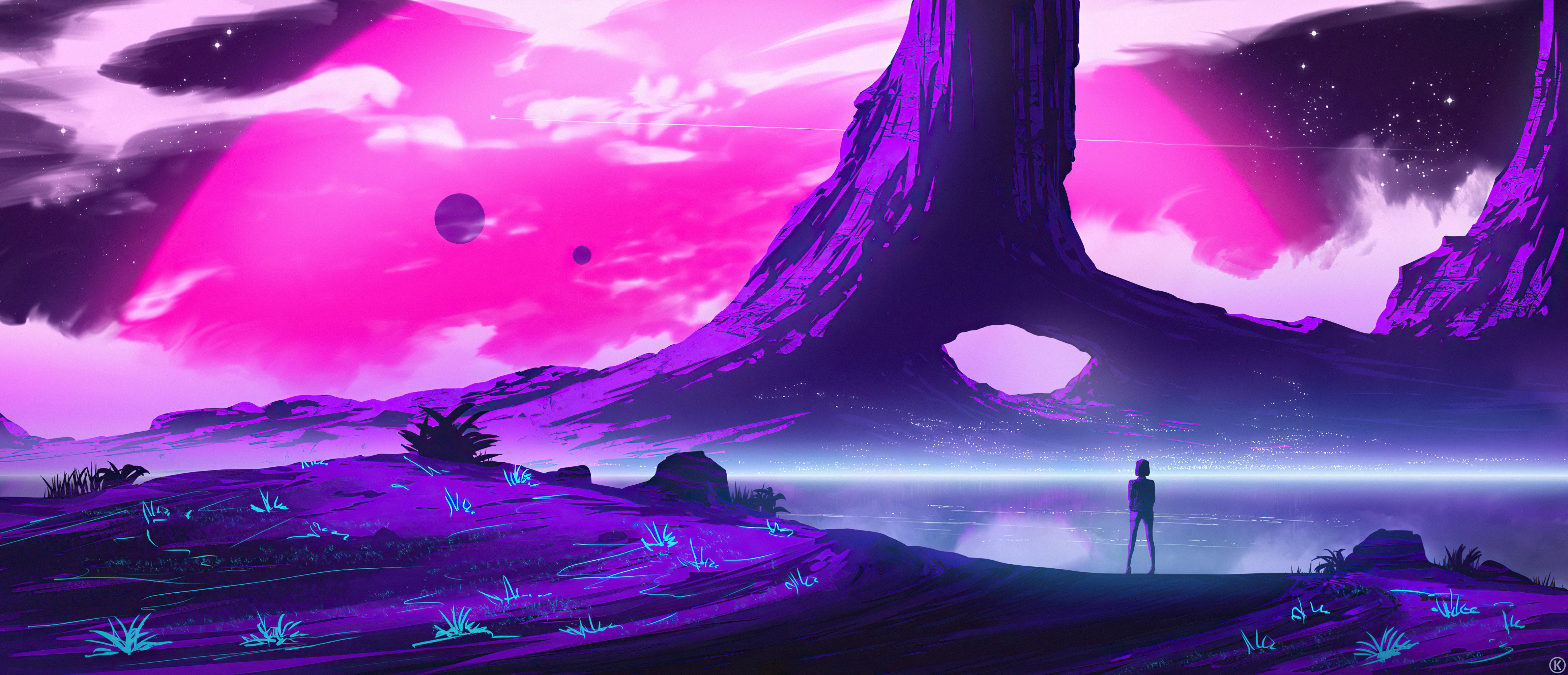 General 4650x2000 artwork ArtStation 4 k landscape purple background