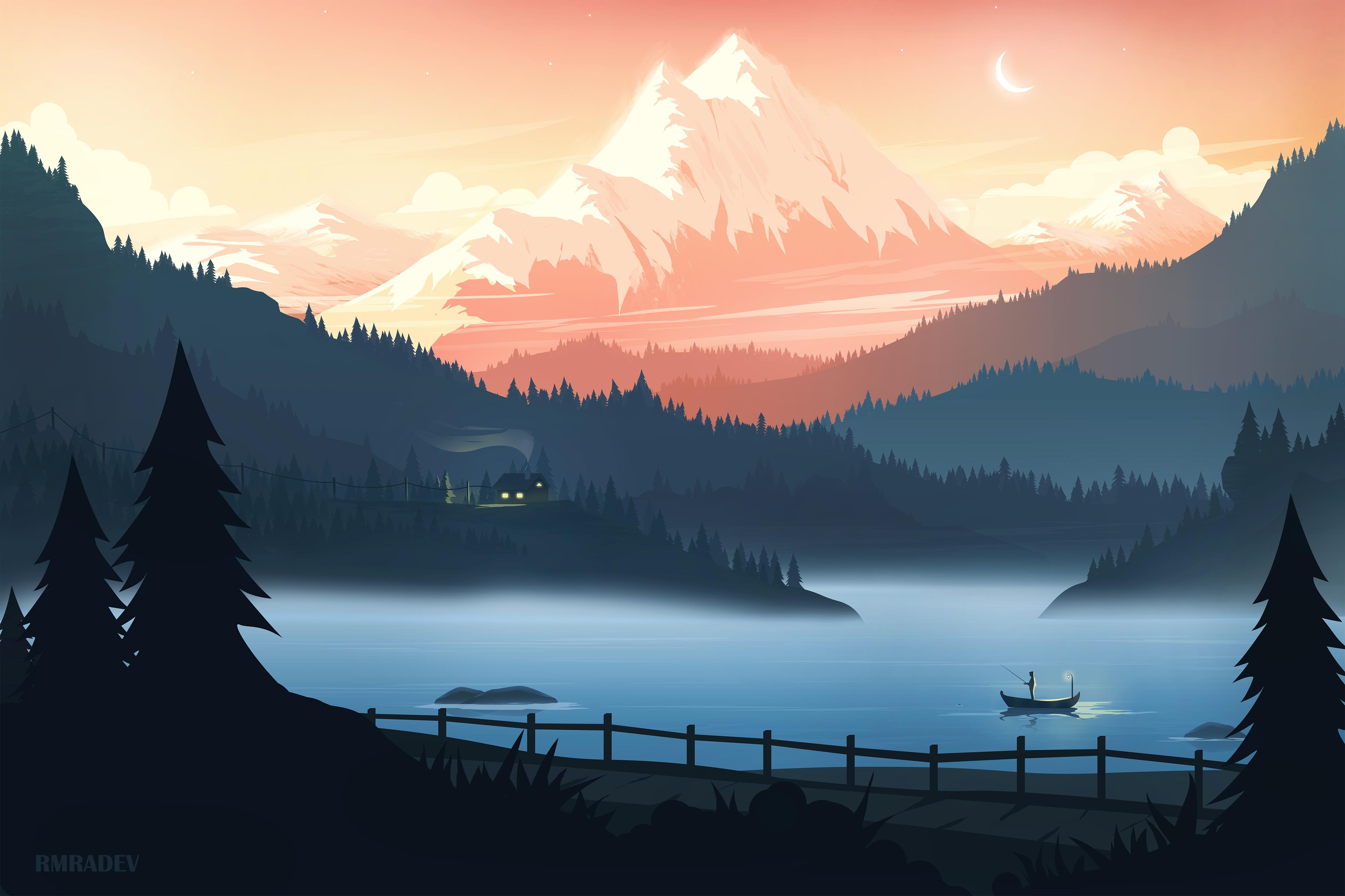 General 4500x3000 mountain top lake landscape 4K CG watermarked rmRadev