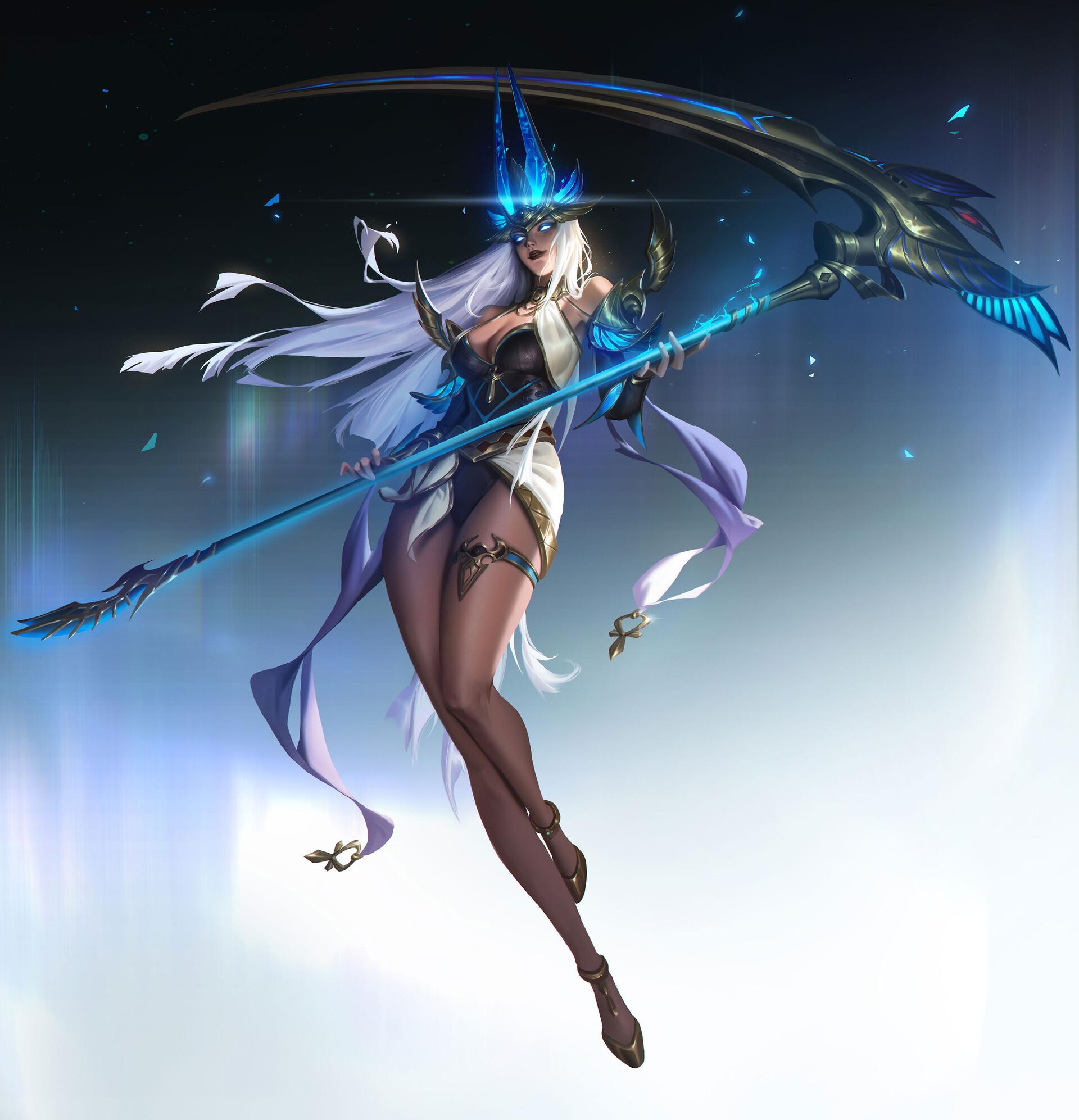 General 1920x1993 Tang 22 artwork fantasy art fantasy girl scythe women legs glowing eyes long hair legs together