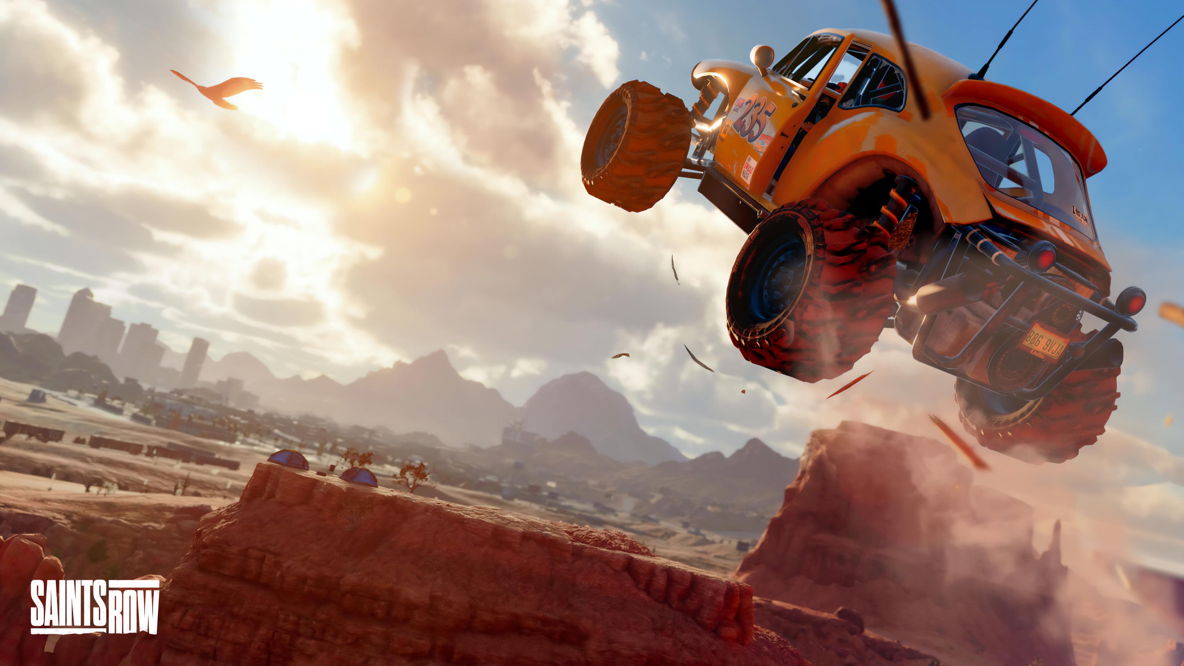 General 3840x2160 Saints Row Saints Row: Reboot buggy 4K Volition, Inc. video games PC gaming vehicle car orange cars jumping