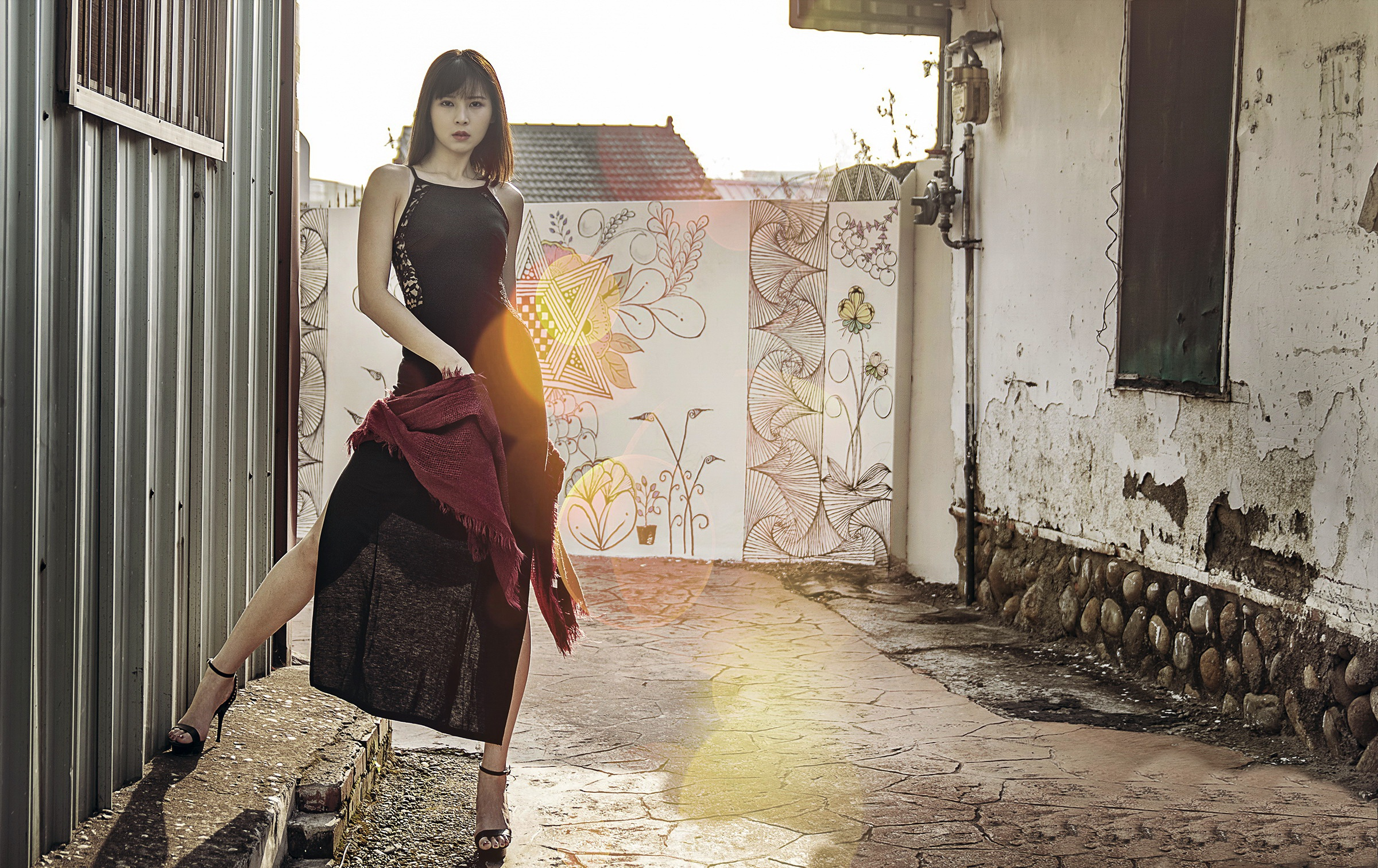 People 2400x1513 Asian model women short hair brunette black high-heels black dress red scarfs wall graffiti containers rooftops house