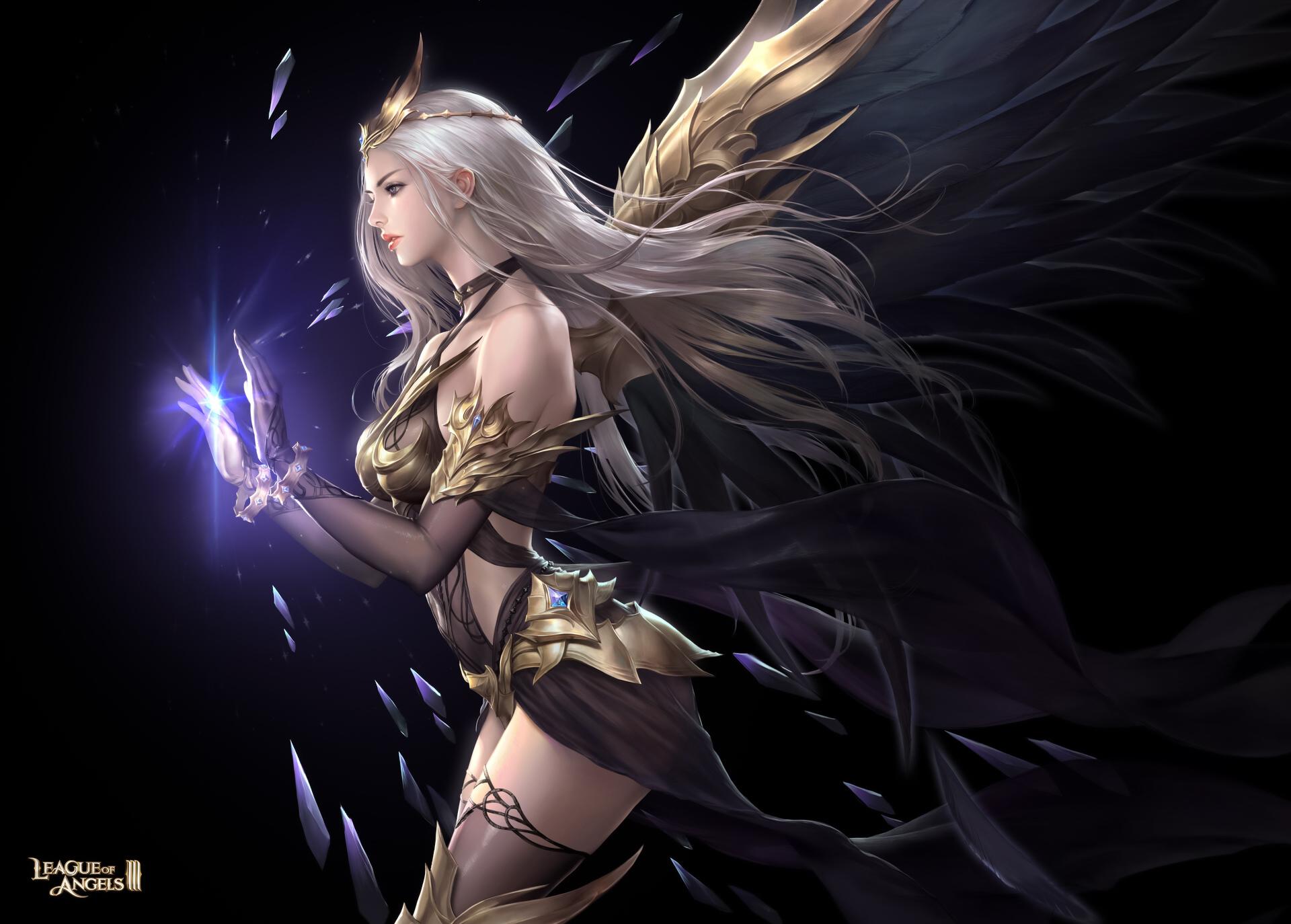 General 1920x1374 Bluezima drawing women blonde long hair tiaras looking away magician spell dress profile wings dark League of Angels people