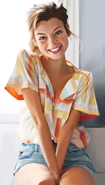 General 1697x3000 hands between legs brunette drawing portrait display smiling women looking at viewer fan art model digital painting digital art Brooke Cormier freckles