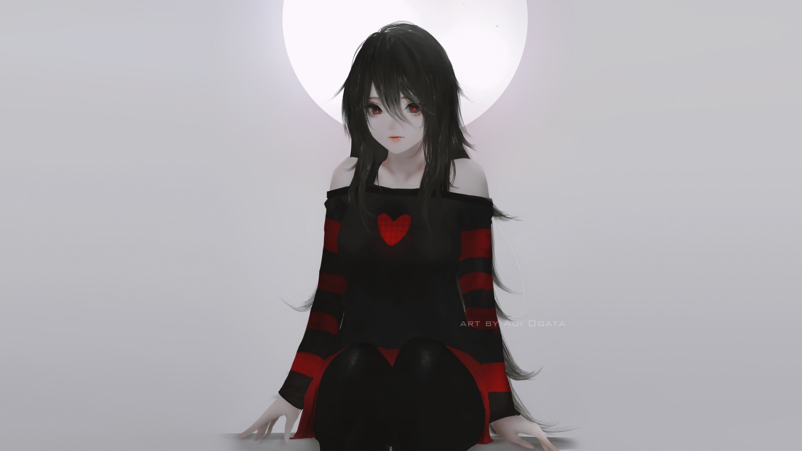 Anime 2560x1440 anime girls original characters black hair women long hair red eyes looking at viewer bare shoulders sweater pantyhose sitting gray background simple background minimalism portrait Aoi Ogata artwork digital art drawing