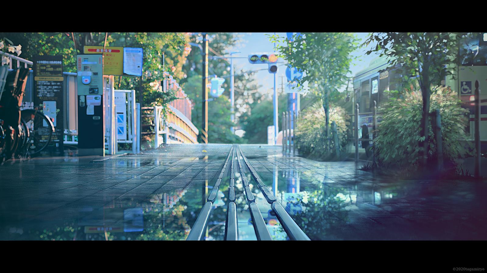 General 1600x900 street rain urban water reflection 2020 (Year) trees traffic signs