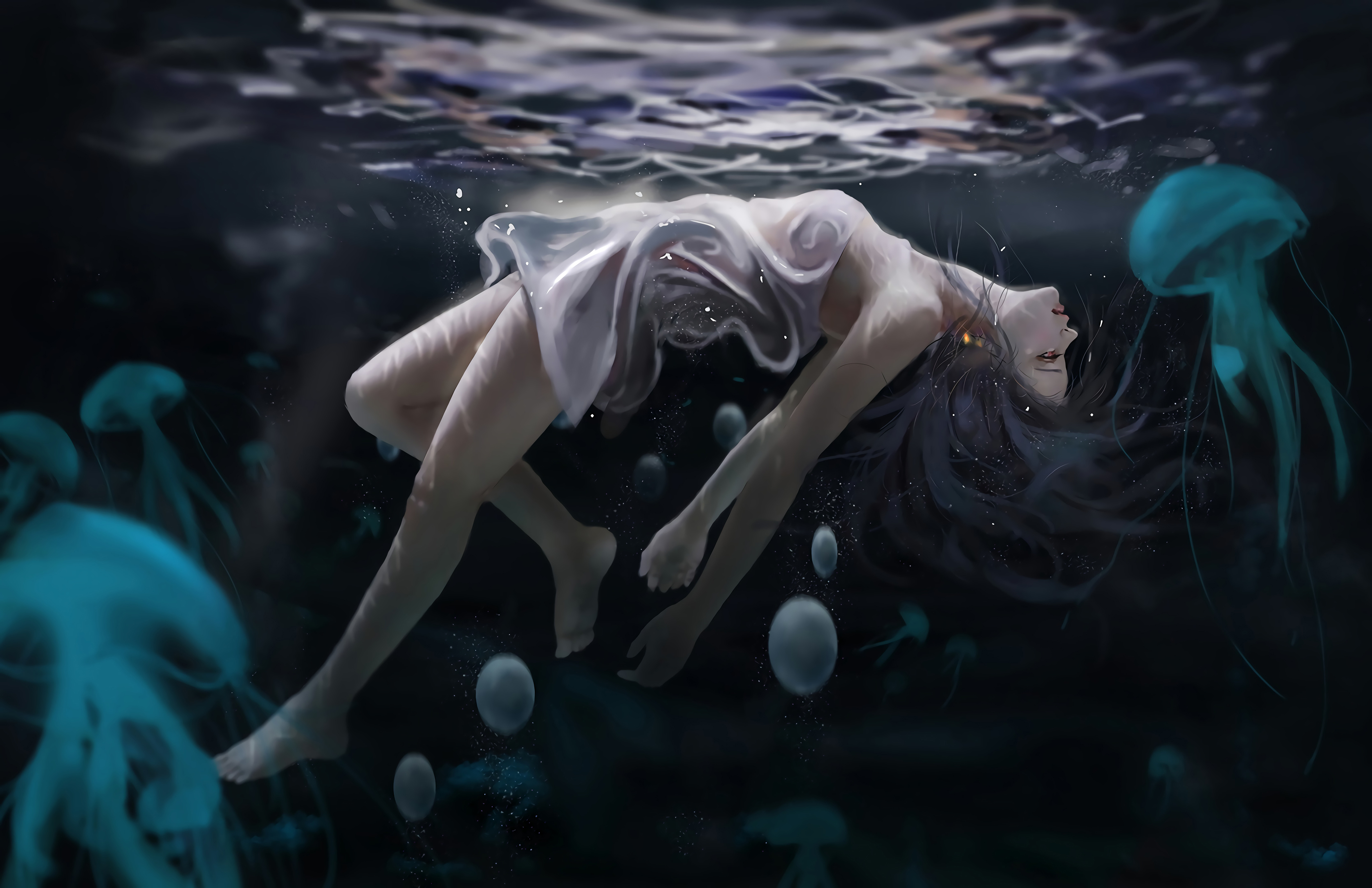 General 4096x2652 digital art jellyfish underwater in water