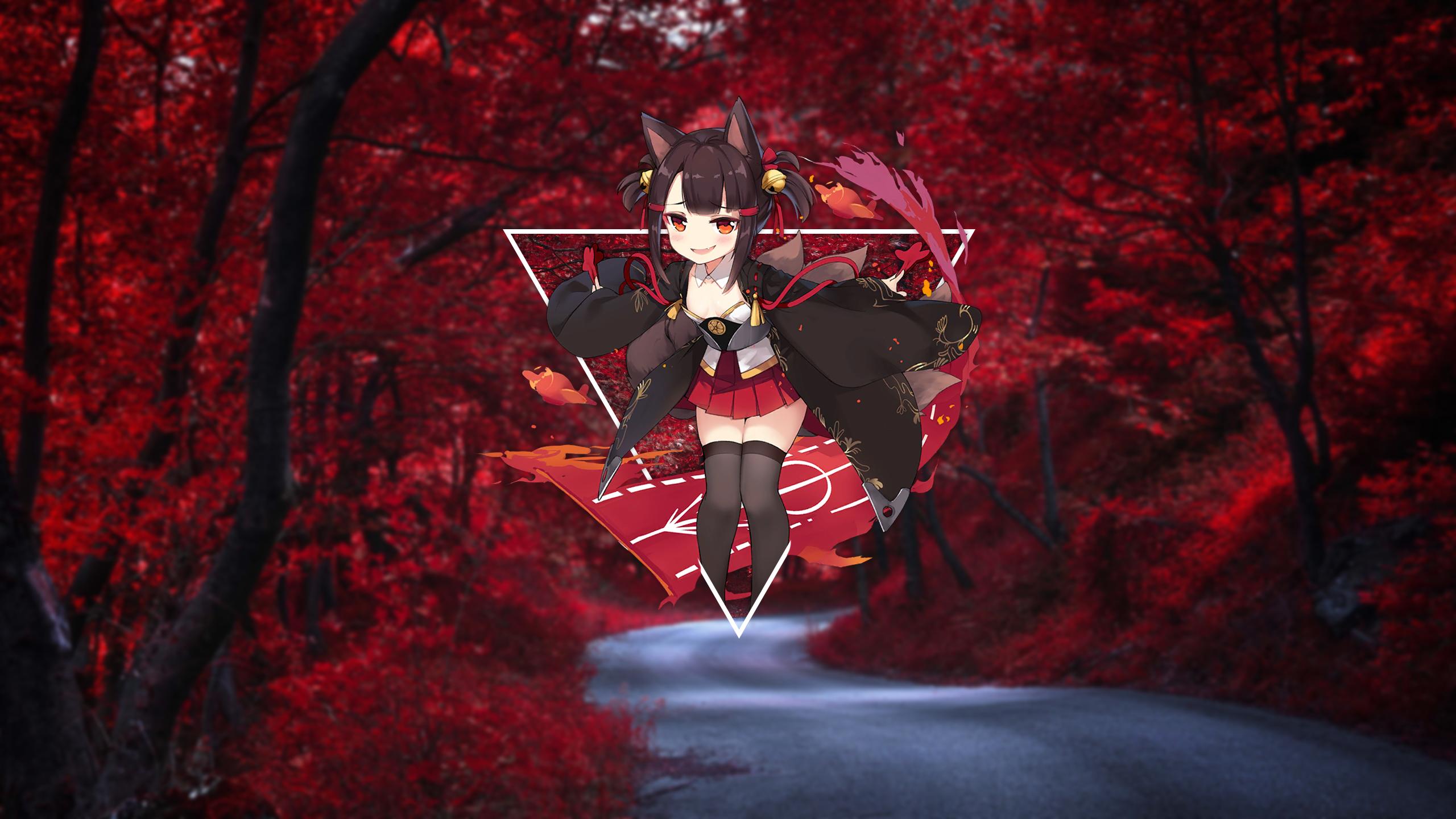 Anime 2560x1440 anime render in shapes anime girls stockings miniskirt animal ears red eyes Azur Lane Akagi-Chan (Azur Lane)