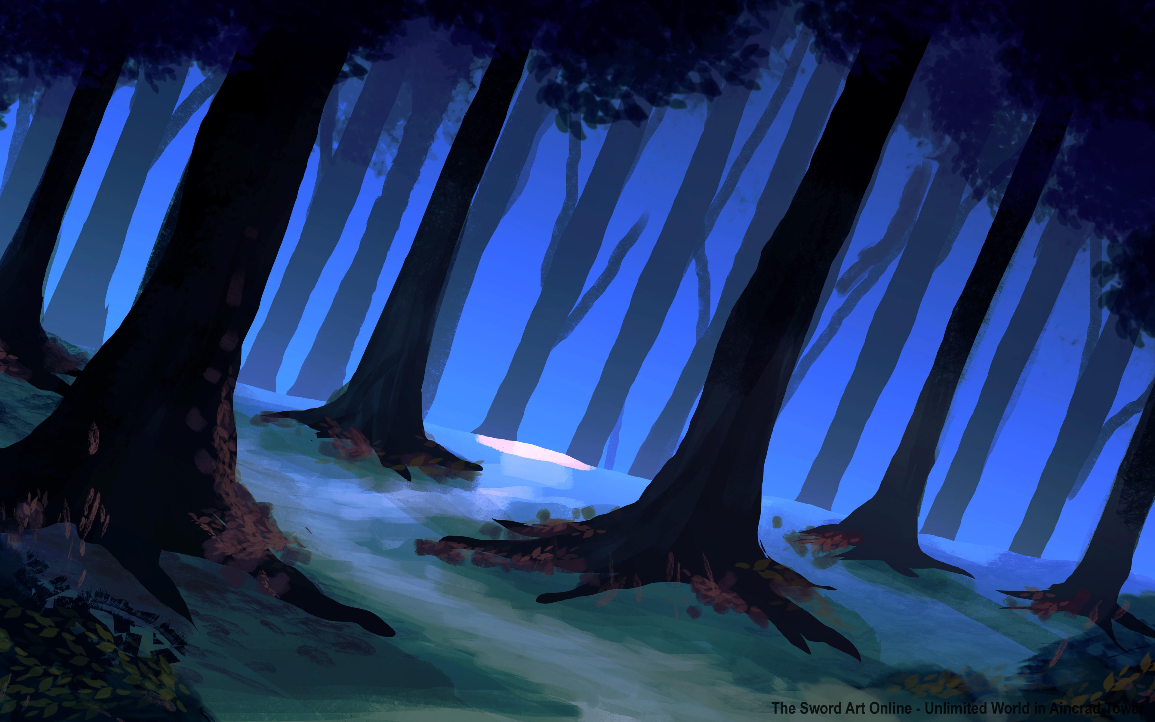 General 3840x2400 digital art forest trees fantasy art illustration painting night Ming Ren blue