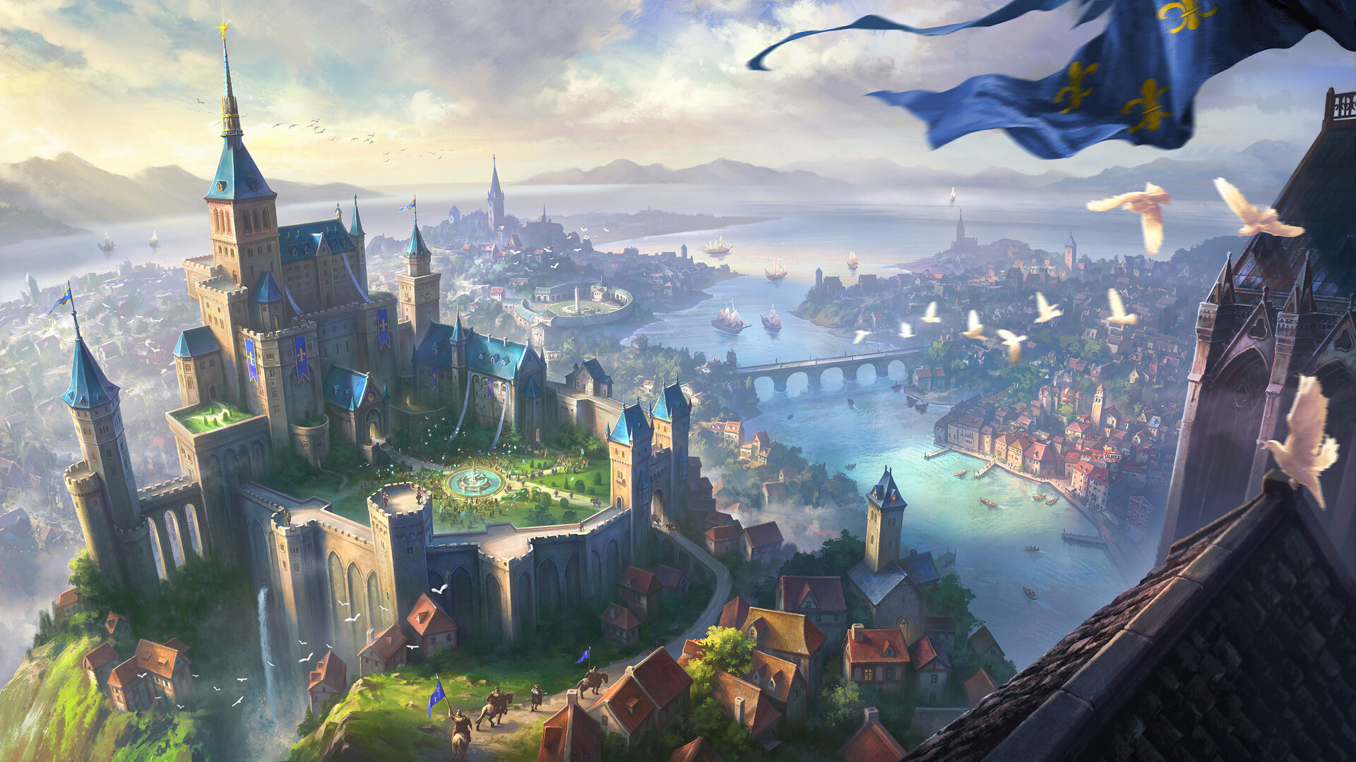General 1920x1080 artwork fantasy art castle city cityscape digital art building architecture tower bridge sea river medieval
