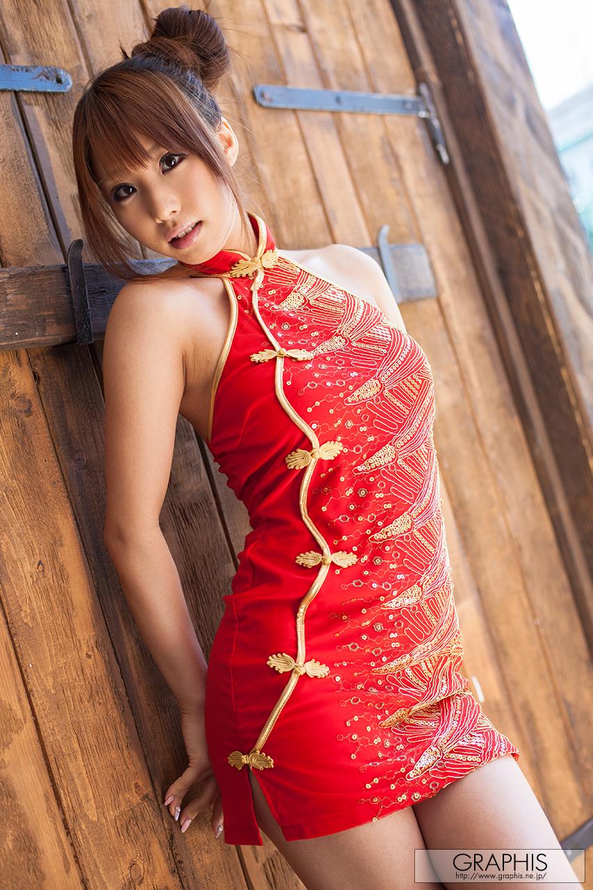 People 853x1280 women model Asian Syunka Ayami graphis brunette hairbun red dress dress minidress looking at viewer portrait display vertical Cheongsam Japanese women Japanese gravure JAV Idol pornstar