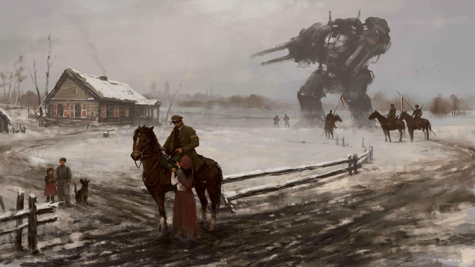 General 1920x1080 digital art army soldier women children horse winter robot painting history house Jakub Różalski Iron Harvest alternative history Poland