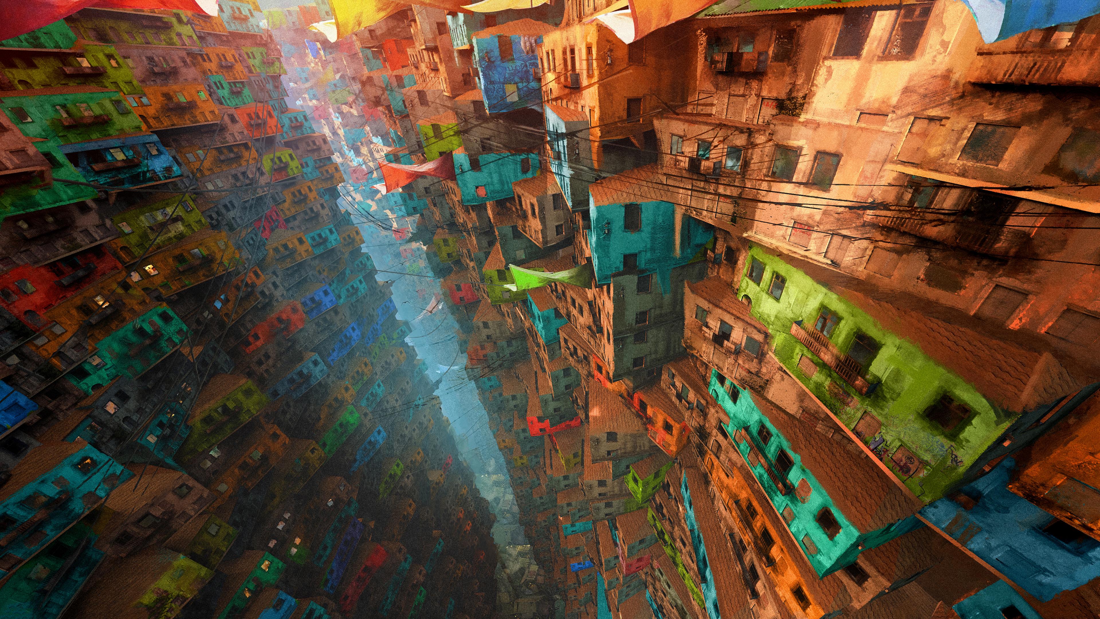 General 3840x2160 digital art city house favela fantasy art niyas ck