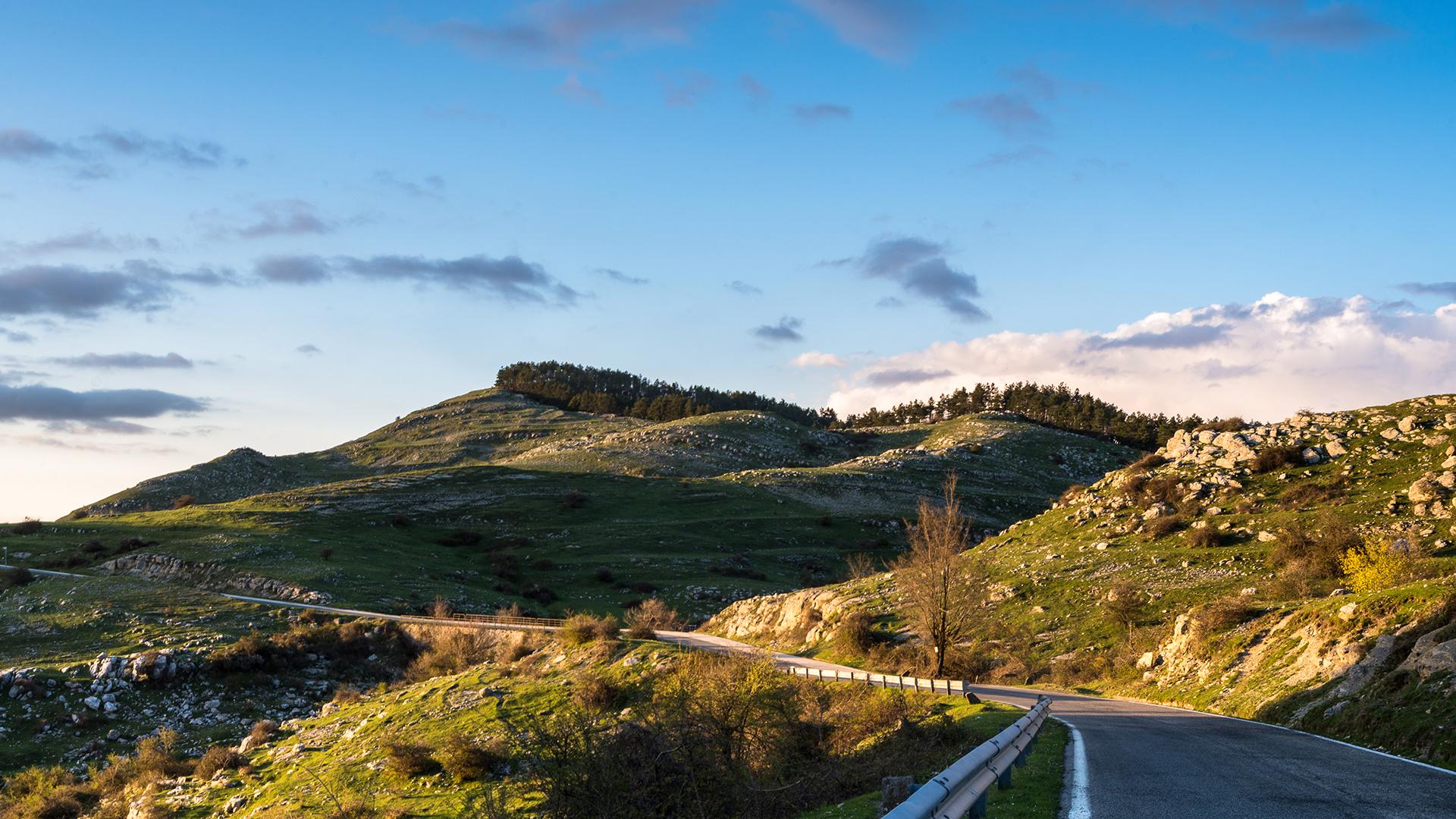 General 1920x1080 landscape mountains hills road nature sky sunlight rocks sky blue
