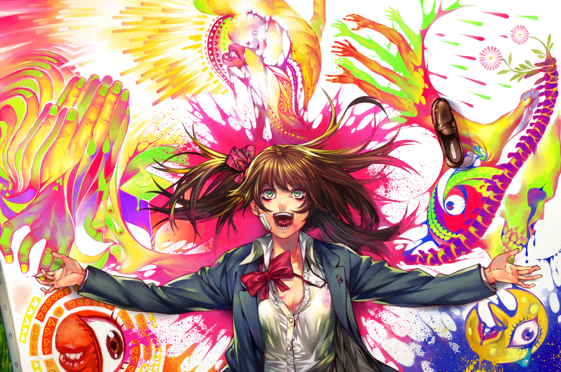 Anime 2160x1432 anime girls school uniform JK blood original characters small boobs cleavage long hair brunette open mouth suicide graffiti no bra laughing messy hair red ribbon green eyes 2D looking at viewer fan art