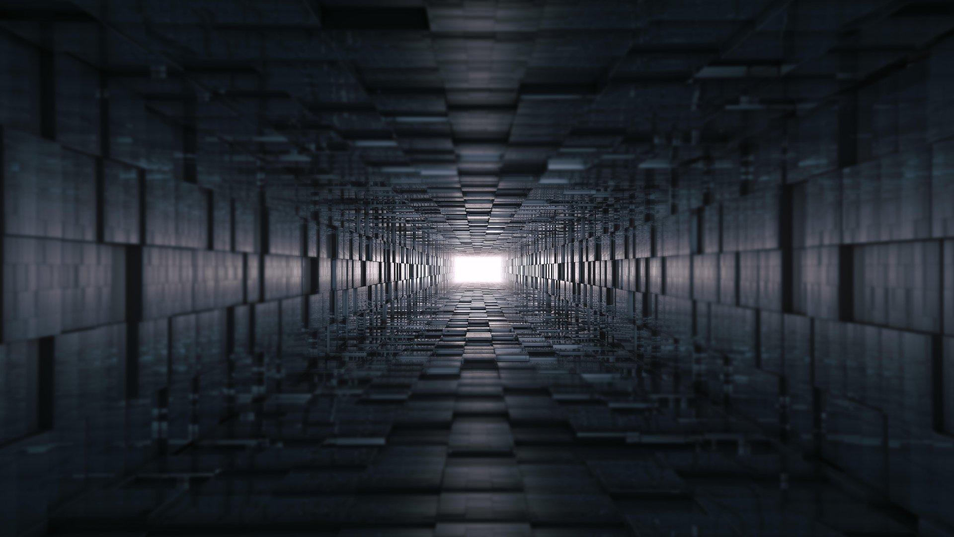 General 1920x1080 digital art artwork tunnel abstract 3D Abstract texture cube geometry lines 3D 3D Blocks CGI render