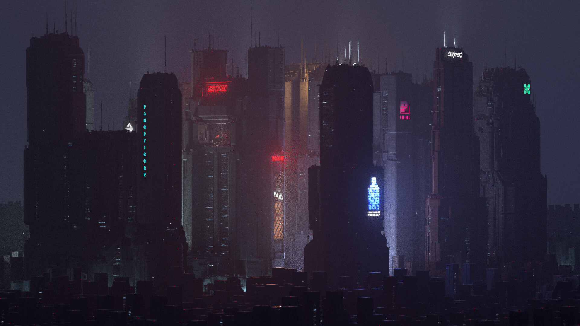 General 1920x1080 artwork digital art building futuristic cityscape city dark futuristic city cyberpunk