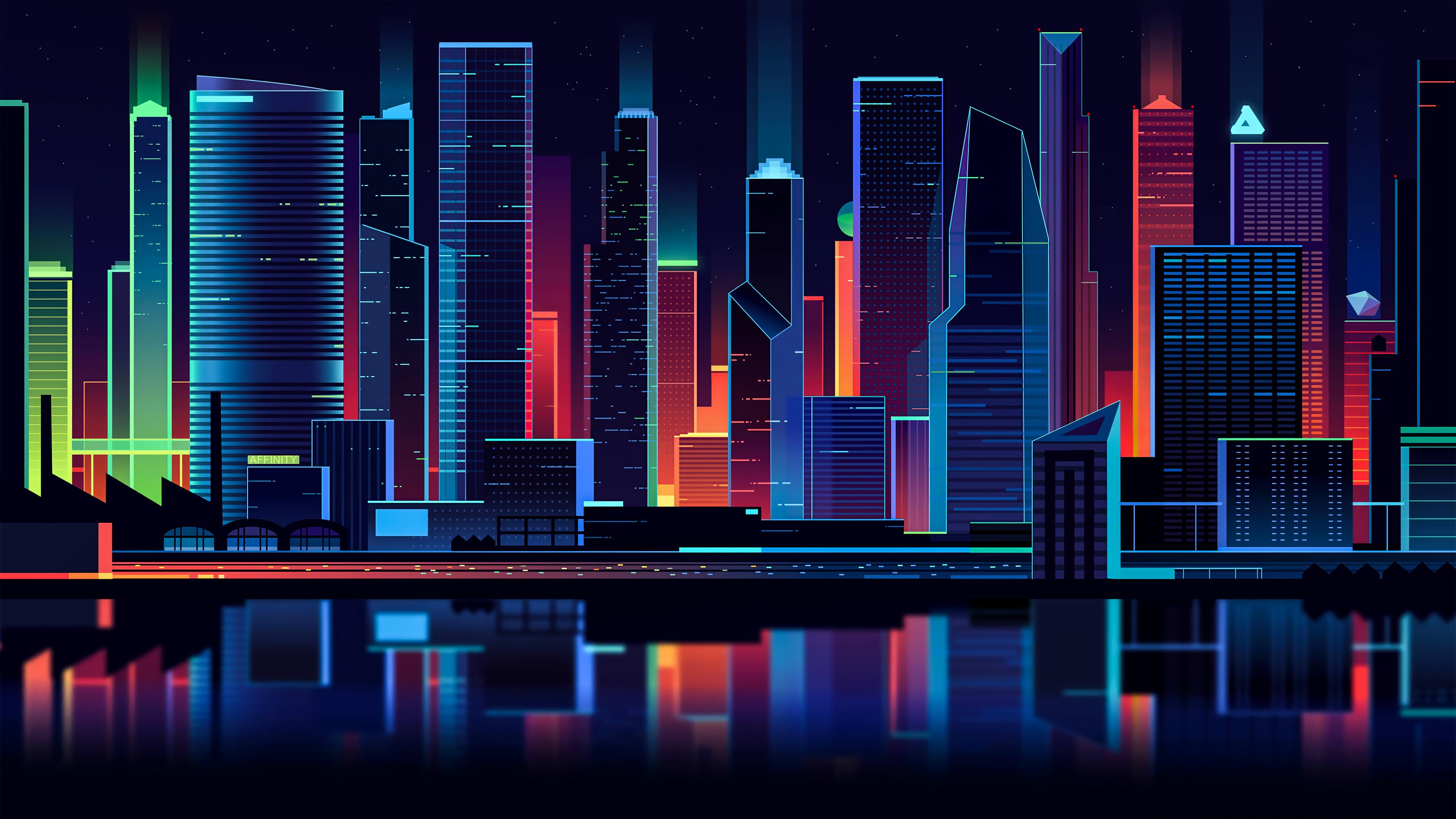 General 3840x2160 digital digital art artwork retro style neon neon lights lights city city lights water building architecture modern skyscraper tower cityscape vector art vector graphics Romain Trystram