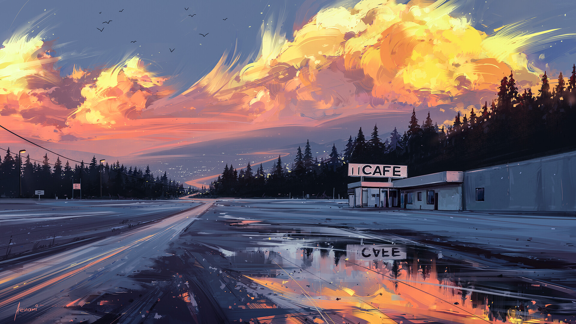 General 1920x1080 cafes road puddle water clouds reflection environment digital art birds building lights Aenami artwork