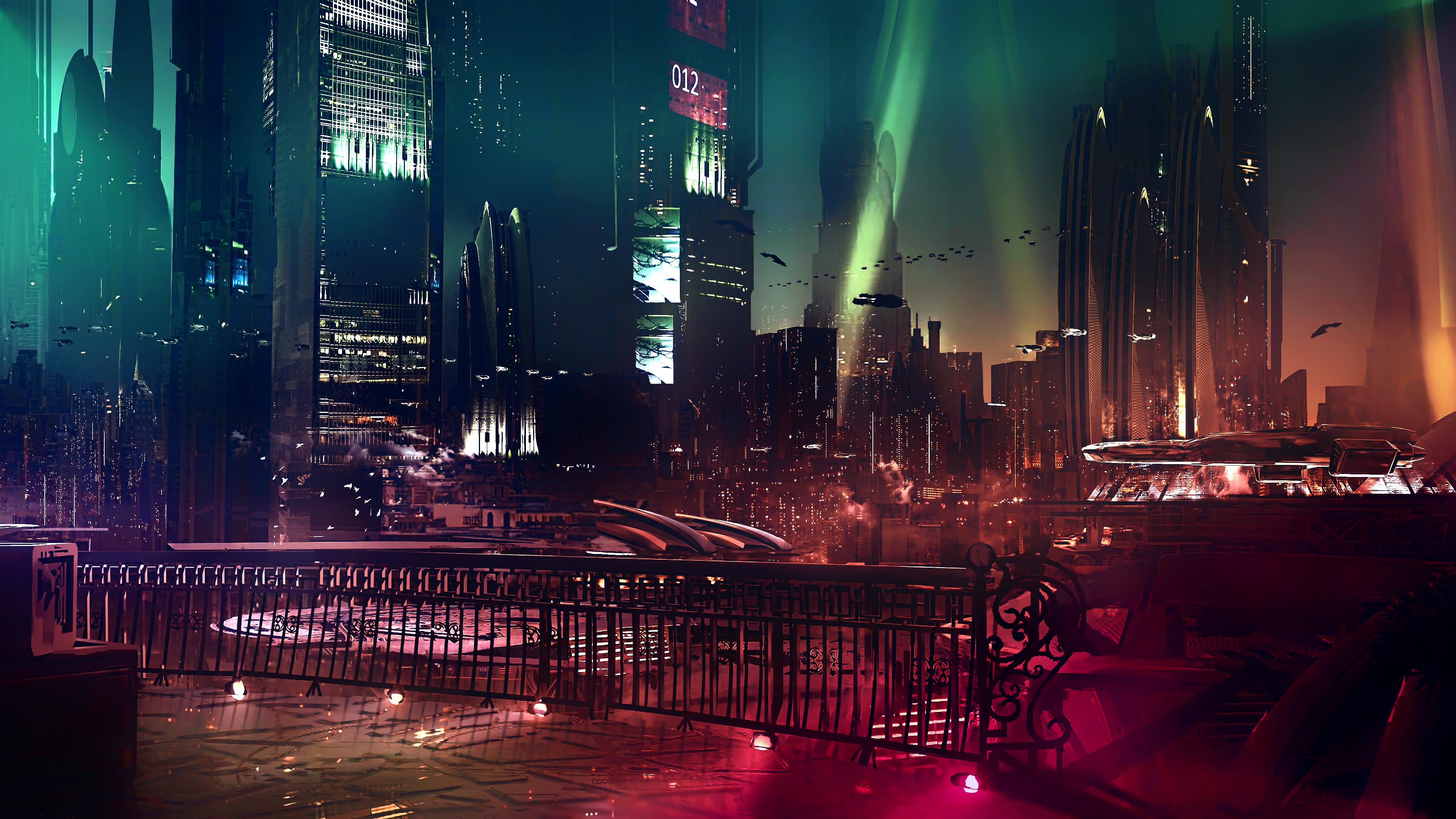 General 3840x2160 cyber science fiction digital art concept art cyberpunk artwork futuristic fantasy art fan art 3D spaceship CGI cityscape futuristic city sunset neon lights neon Bladerunner