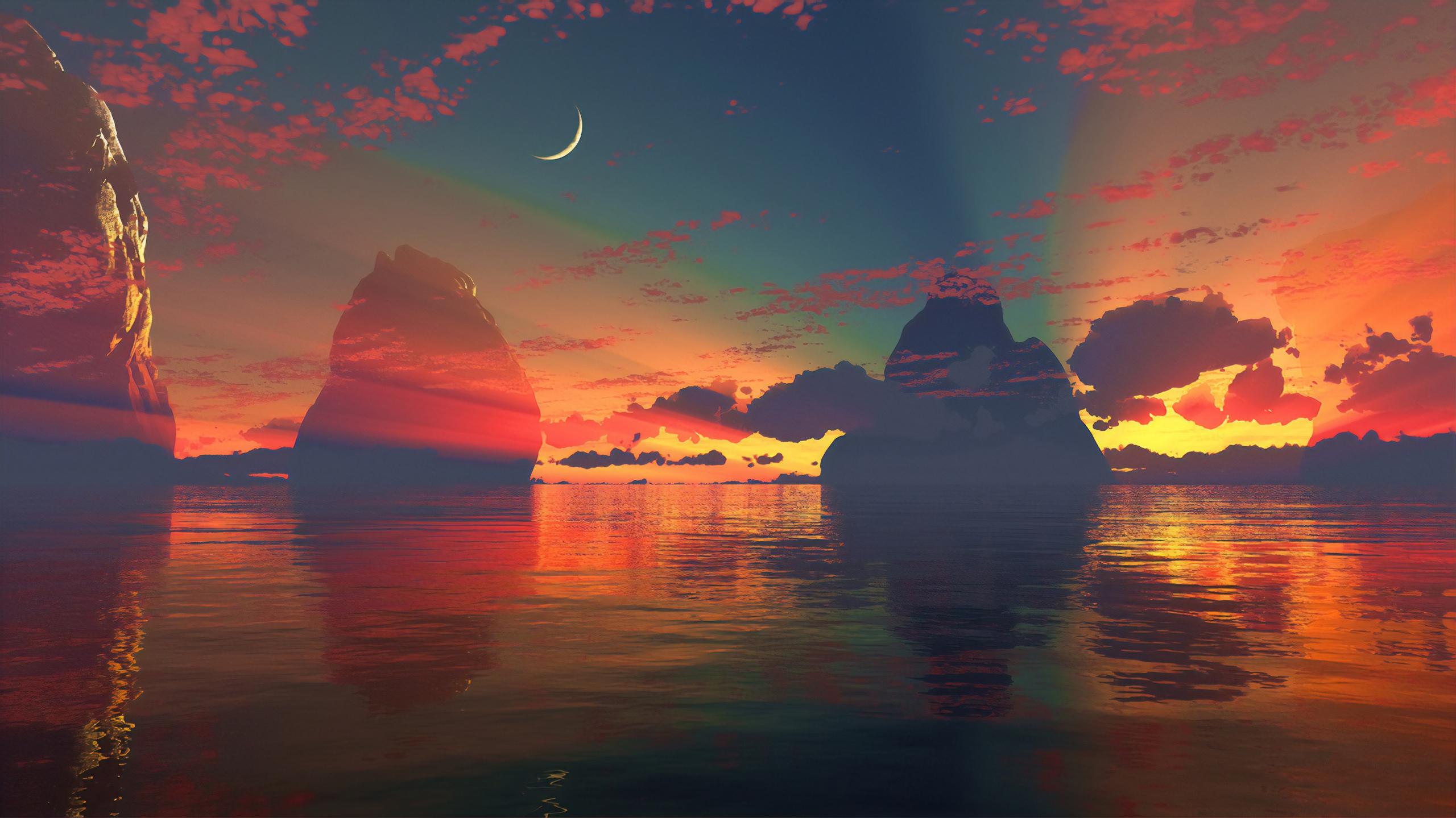 General 2560x1439 digital digital art artwork fantasy art landscape sky skyscape water sea Moon sun rays Sun sunrise sunset dusk dark clouds morning nature