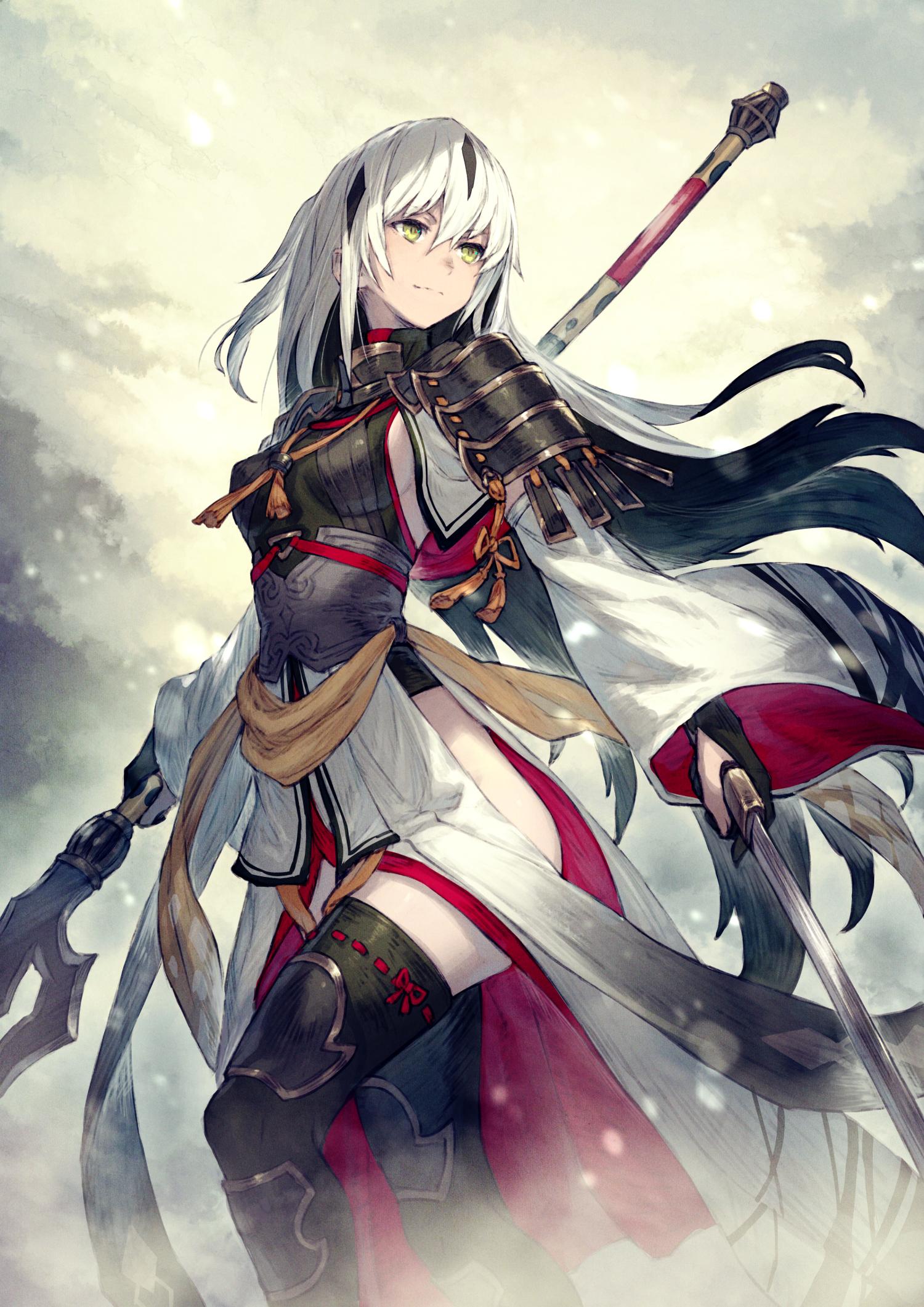 Anime 1500x2121 anime anime girls digital art artwork portrait display vertical long hair Fate/Grand Order FGO white hair lance sword girls with swords legs