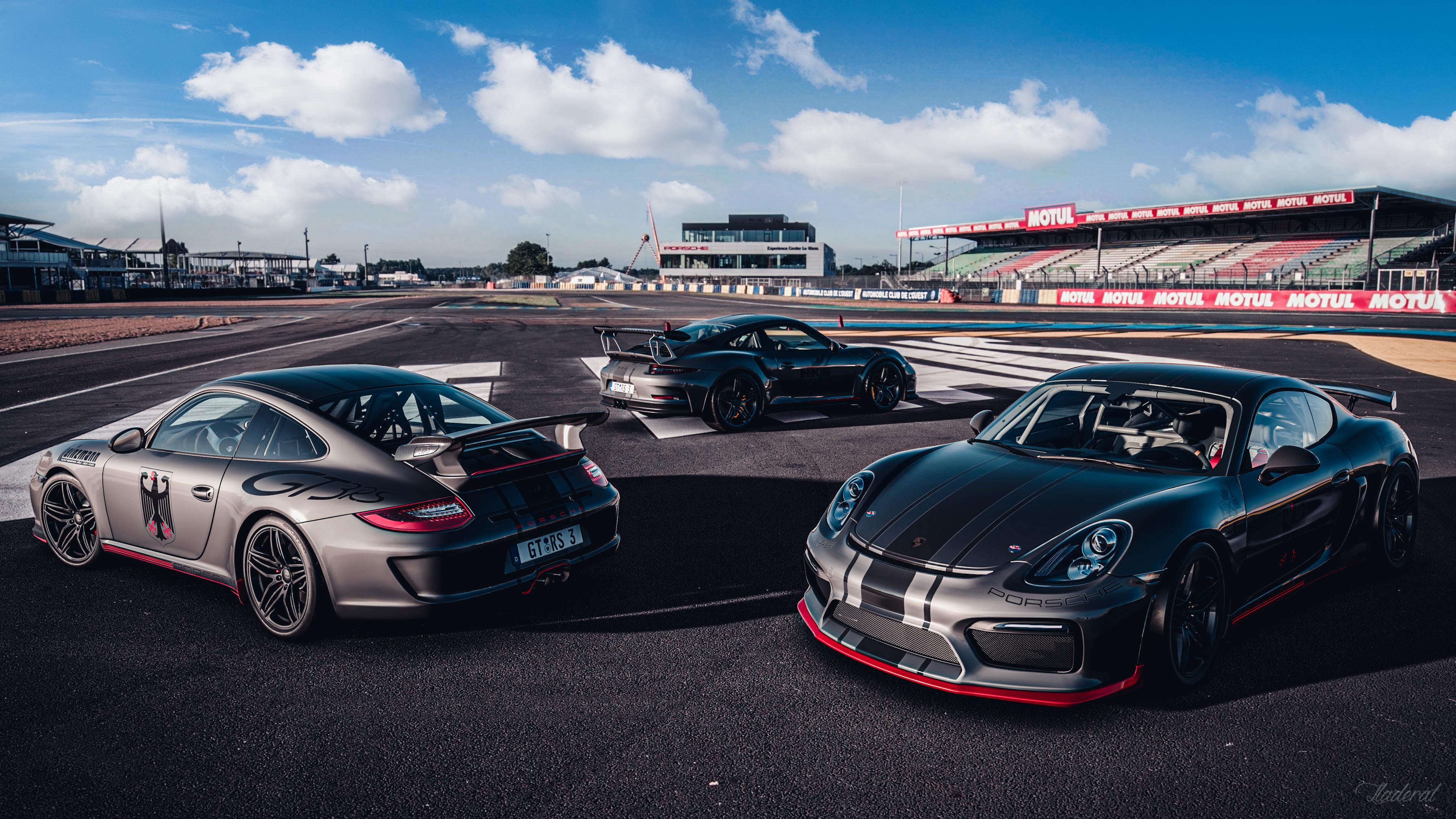 General 3840x2160 Porsche Porshe 911 GT3 Porsche Cayman GT4 Porsche Cayman Porsche 911 GT3 RS race tracks car German cars Gran Turismo Gran Turismo Sport PlayStation PlayStation 4 grey red black racing stripes livery