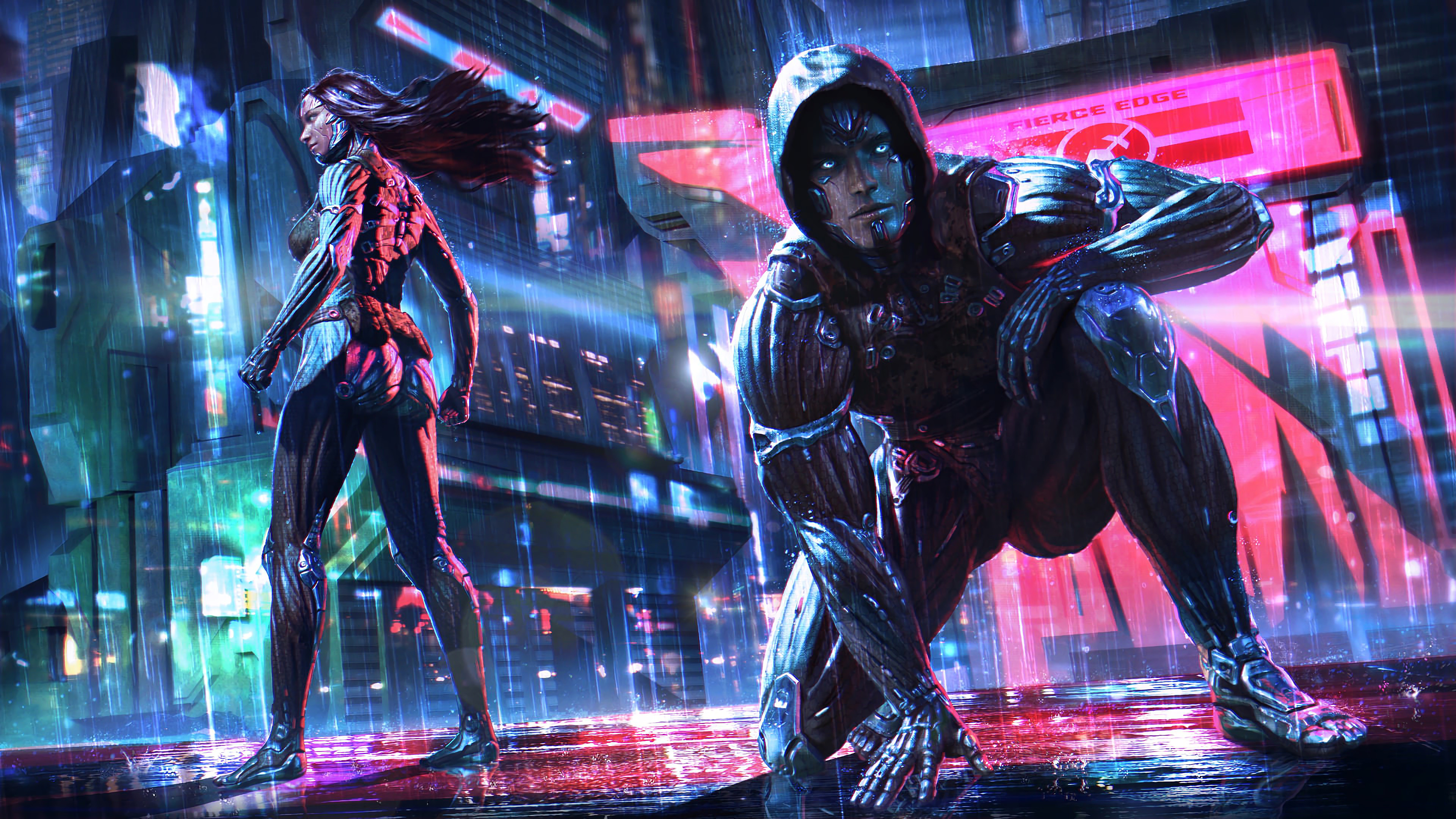 General 3840x2160 digital digital art artwork futuristic futuristic city futuristic armor robot robotic robotics neon neon lights lights cyborg architecture building cyber cyberpunk Dark Cyberpunk men women science fiction concept art environment cyber city tech technology cyan pink