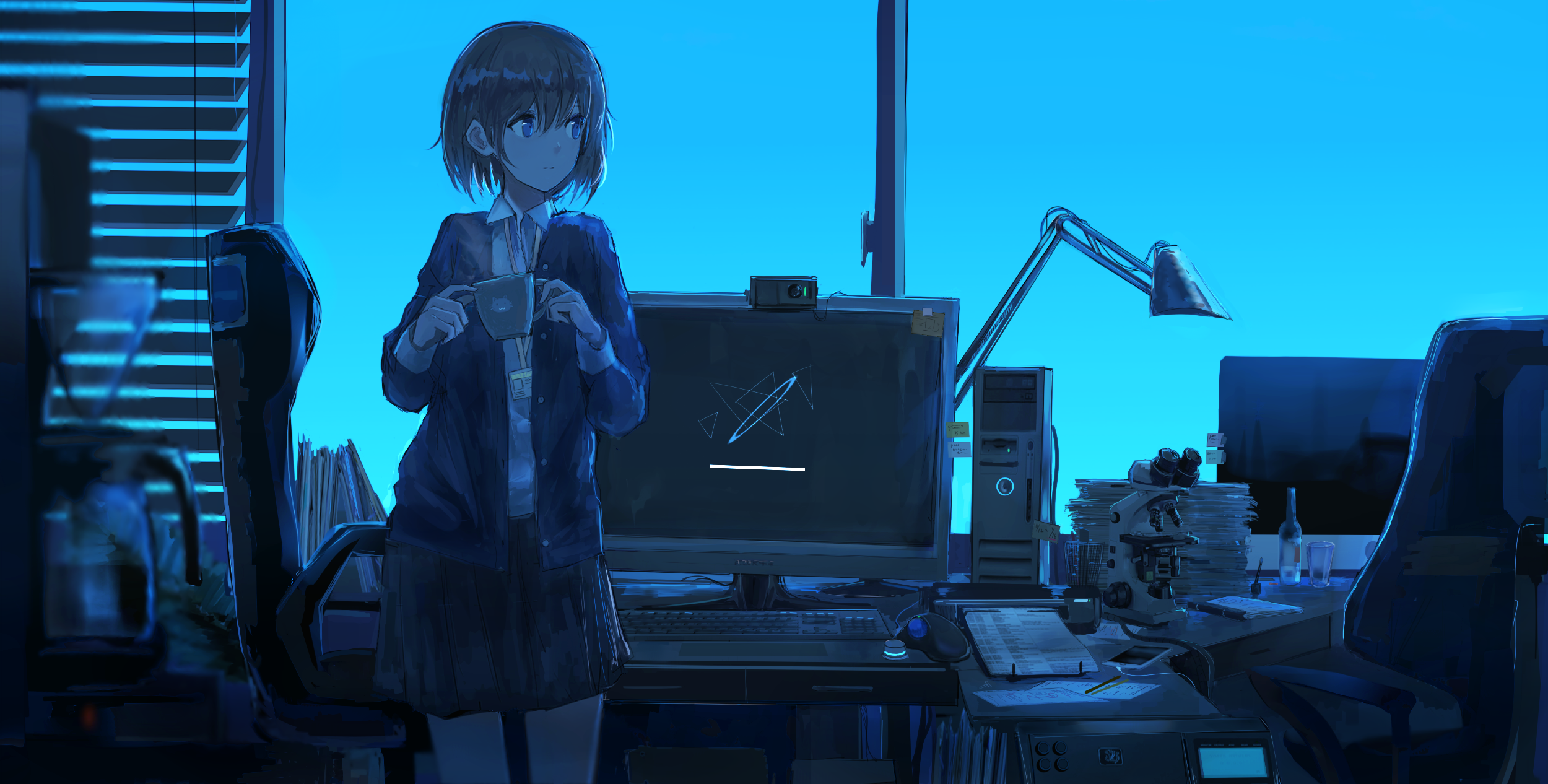 Anime 2500x1266 anime girls office blue cup cyan