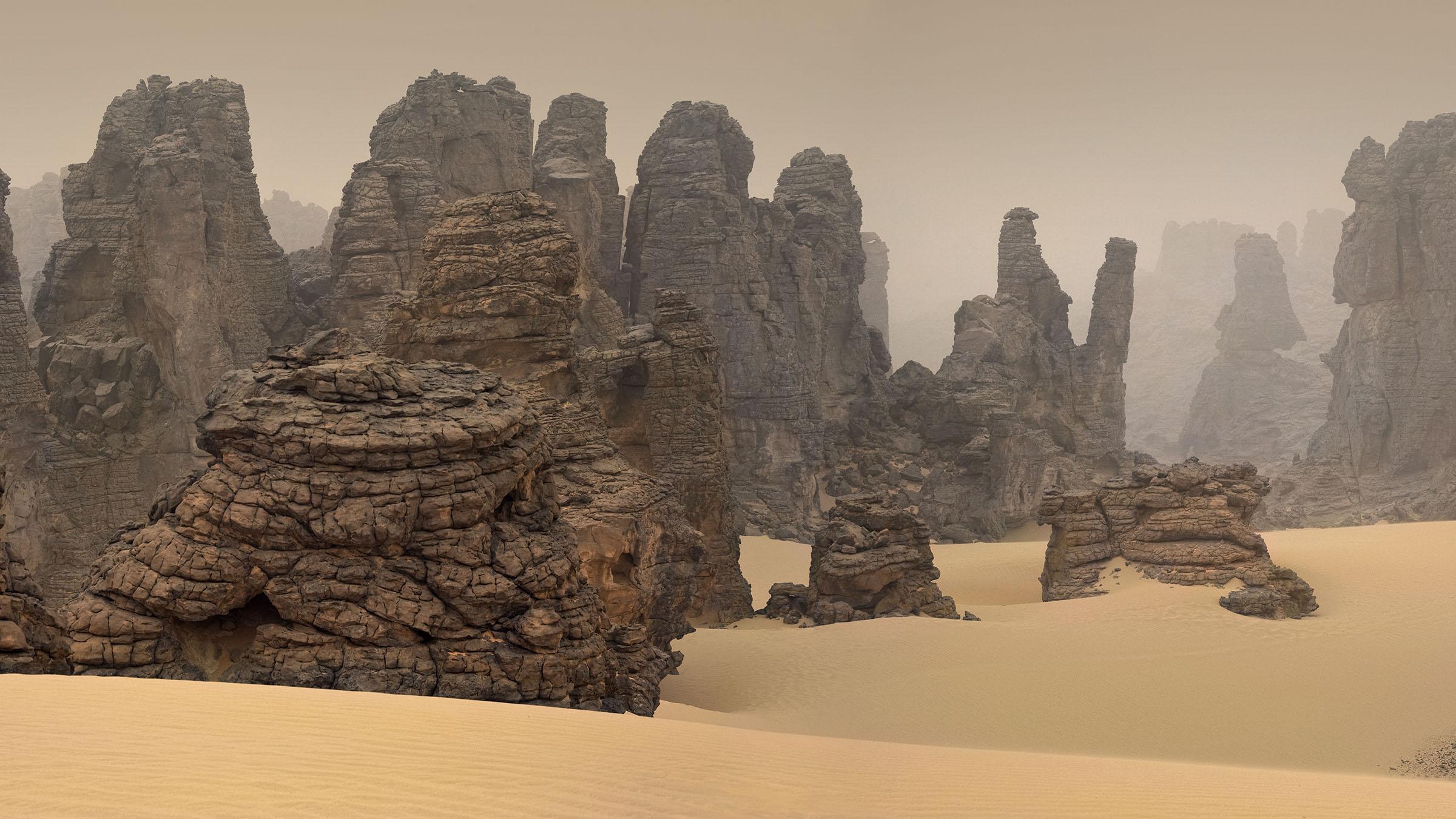 General 2400x1350 nature landscape desert sand rock Libya mist