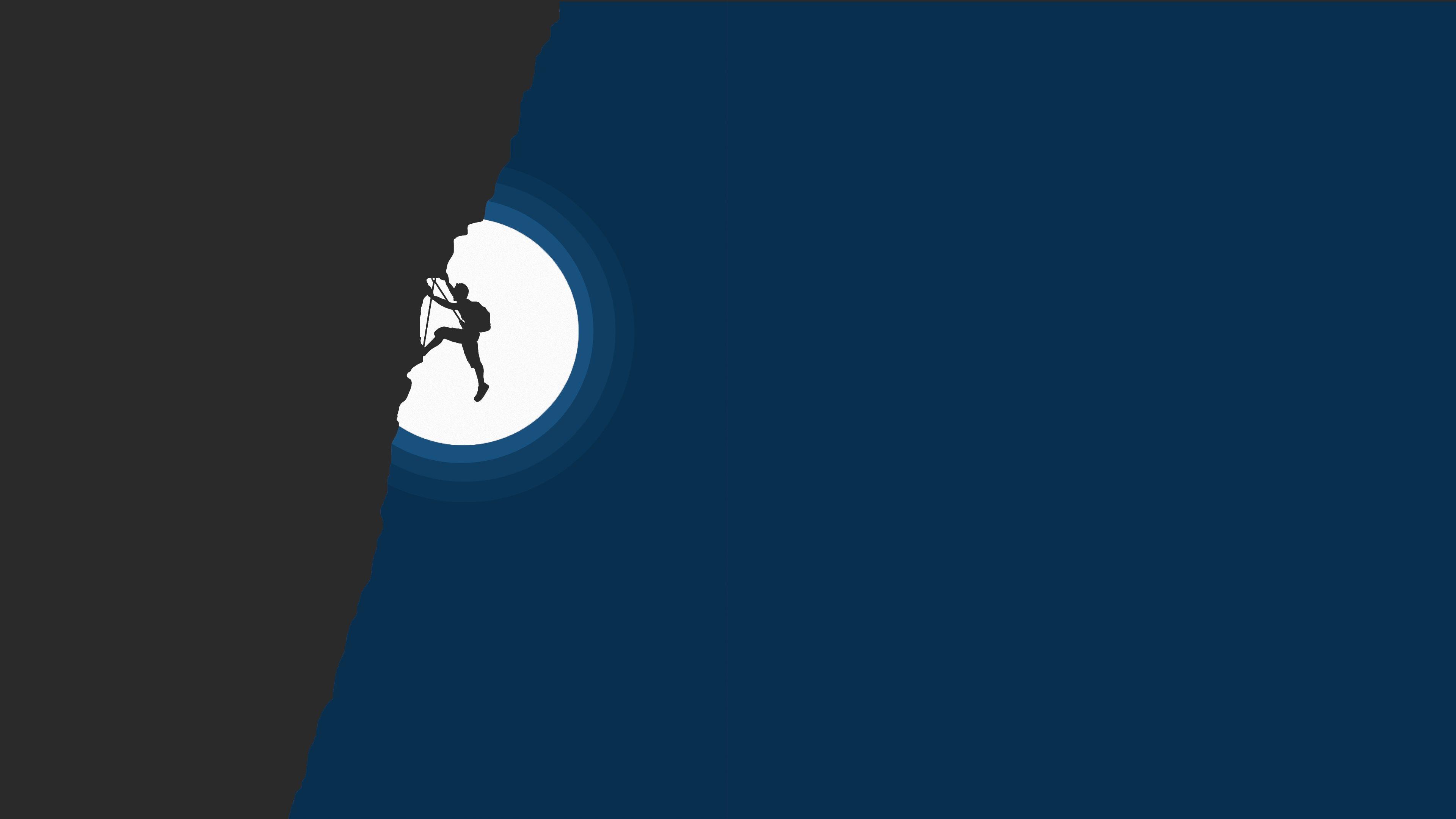 General 3840x2160 hiking illustration night minimalism digital art mountains climbing