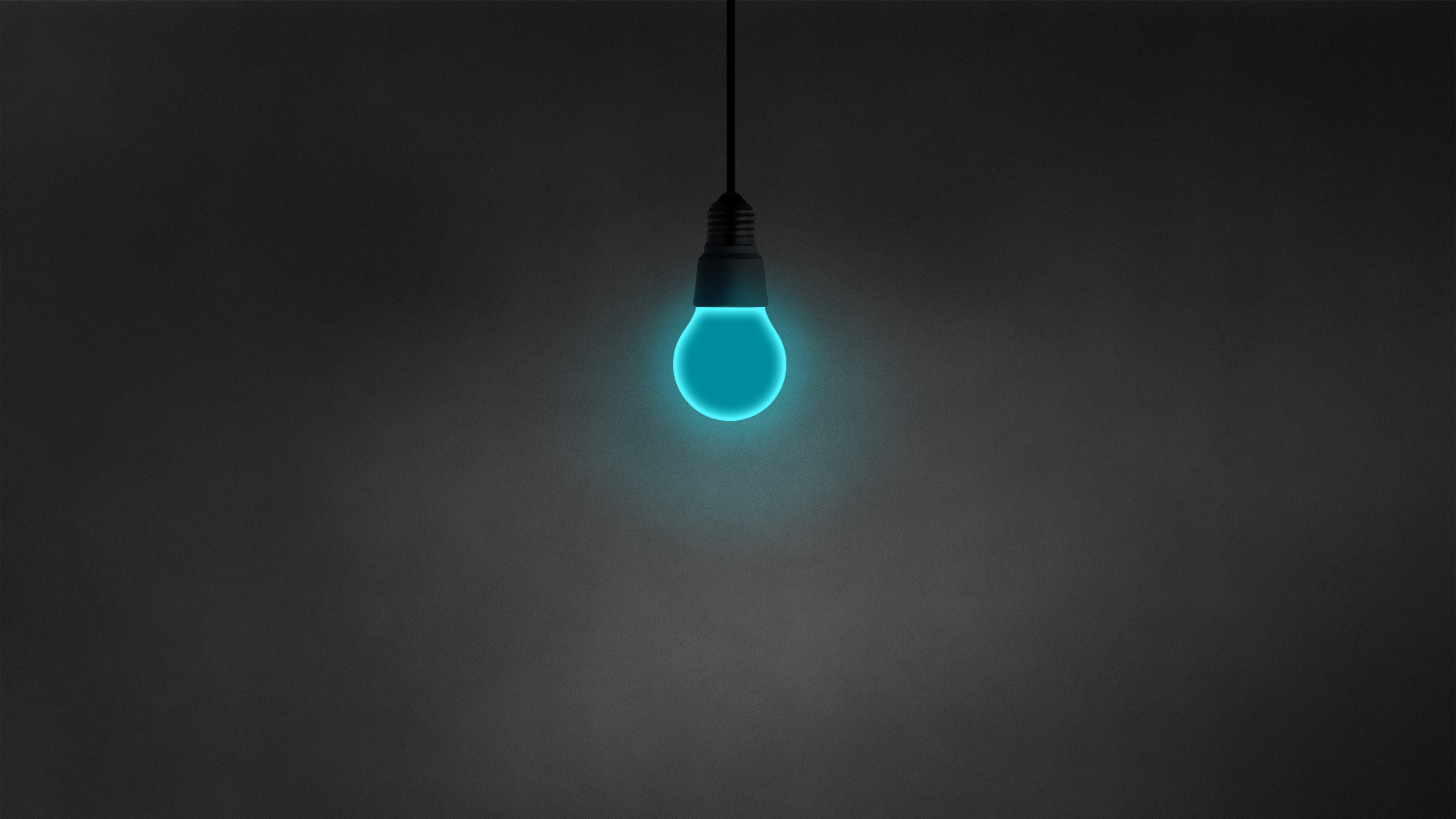 General 3840x2160 minimalism light bulb dark simple cyan