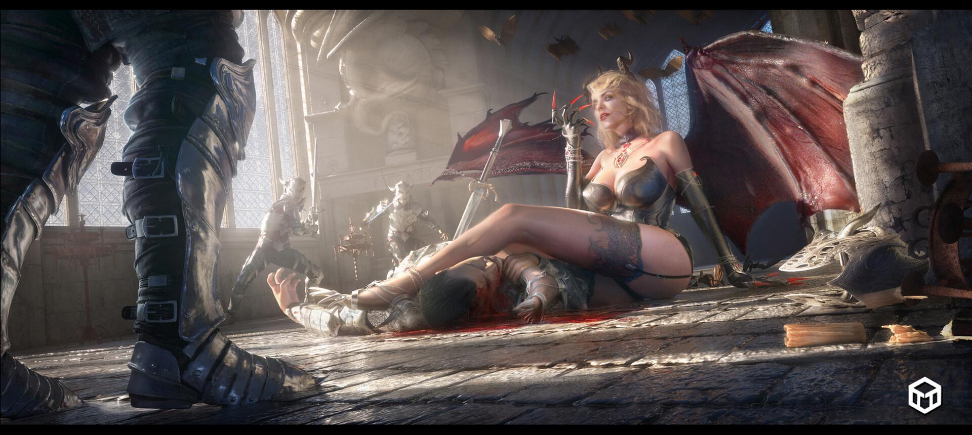 General 1920x860 artwork fantasy art legs blood women claws fantasy girl succubus demon girls horns corpse
