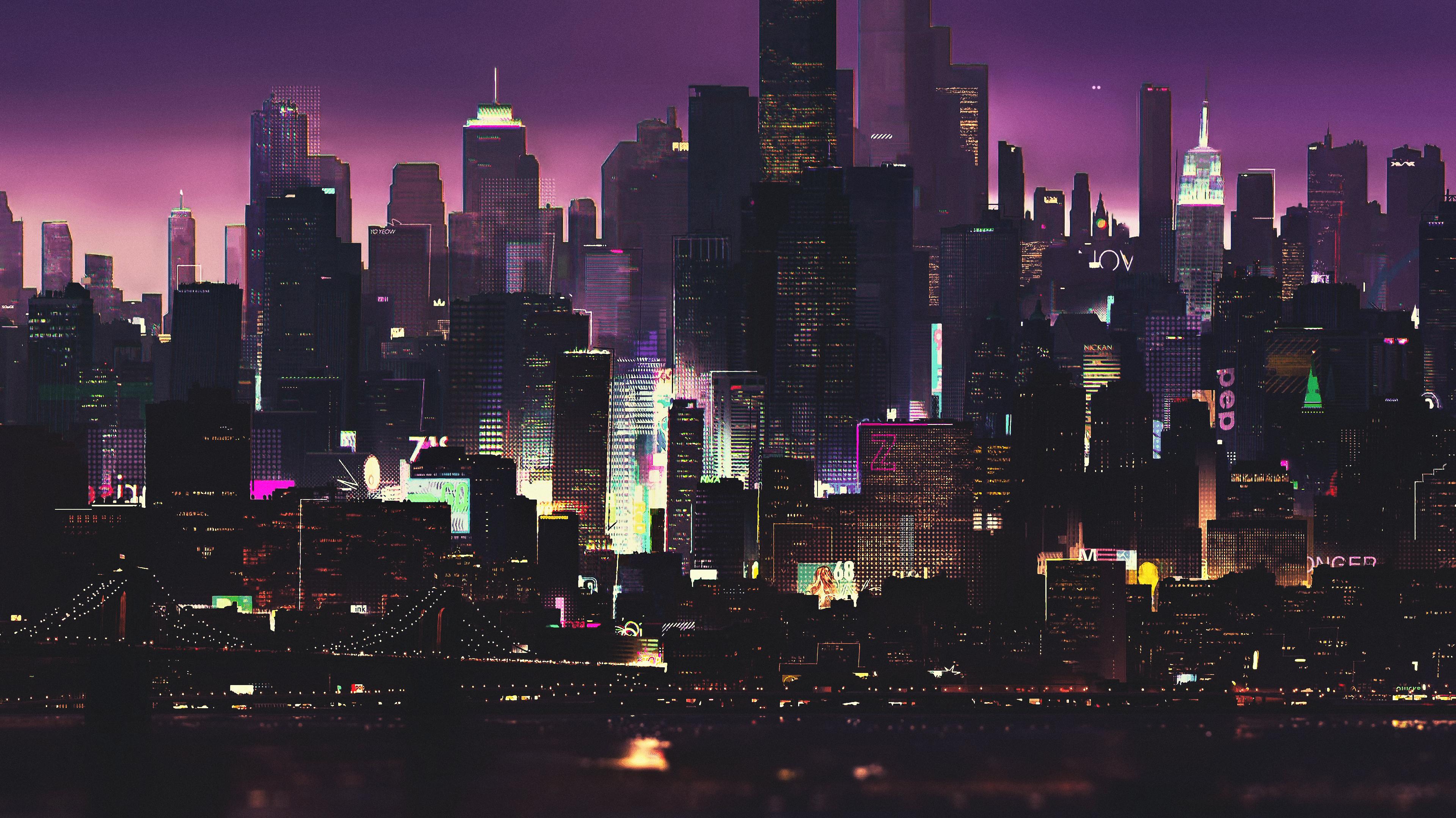 General 3840x2160 night artwork futuristic city cyberpunk cyber science fiction digital art concept art fantasy art CGI fan art