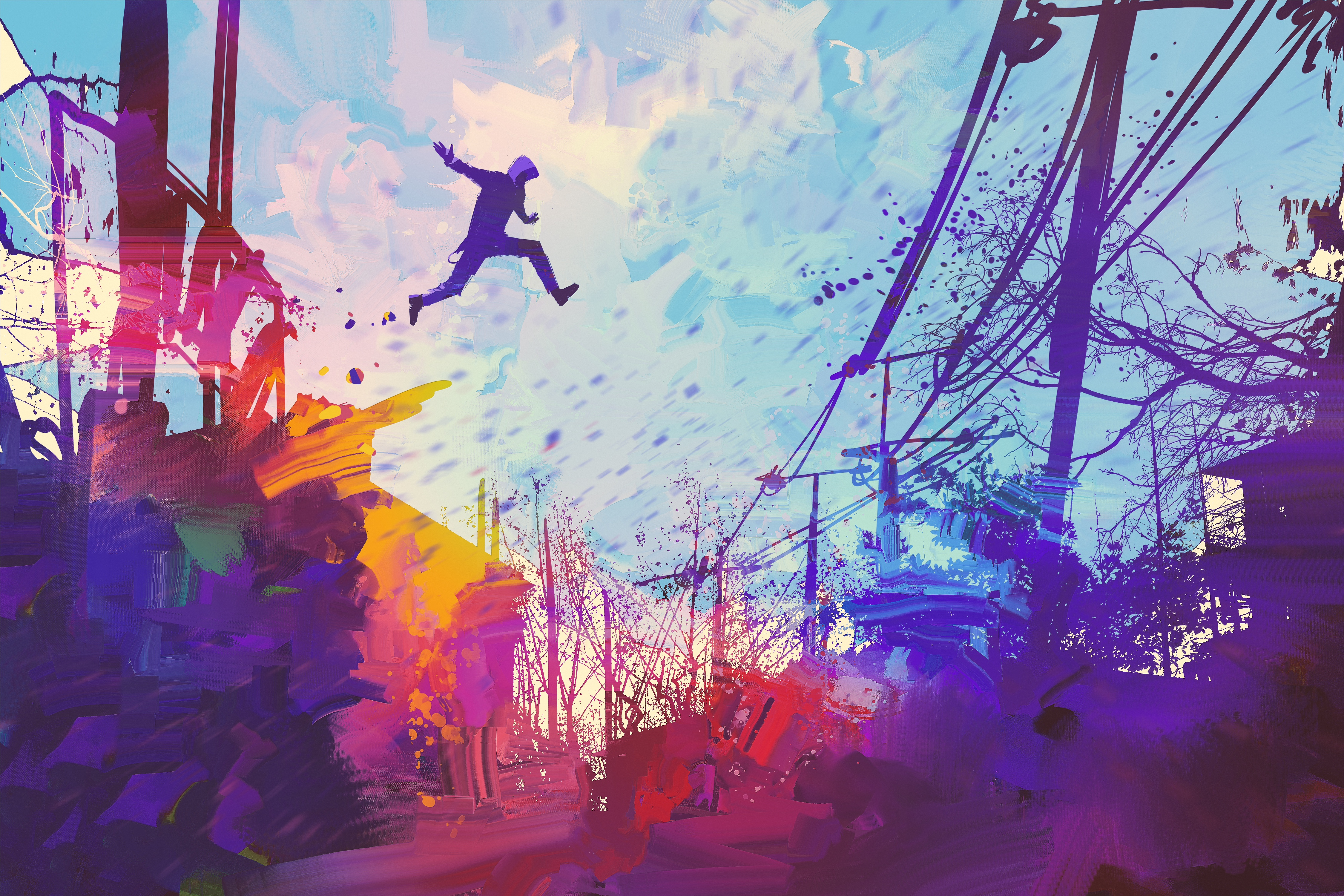 General 4500x3000 digital art city men parkour abstract colorful