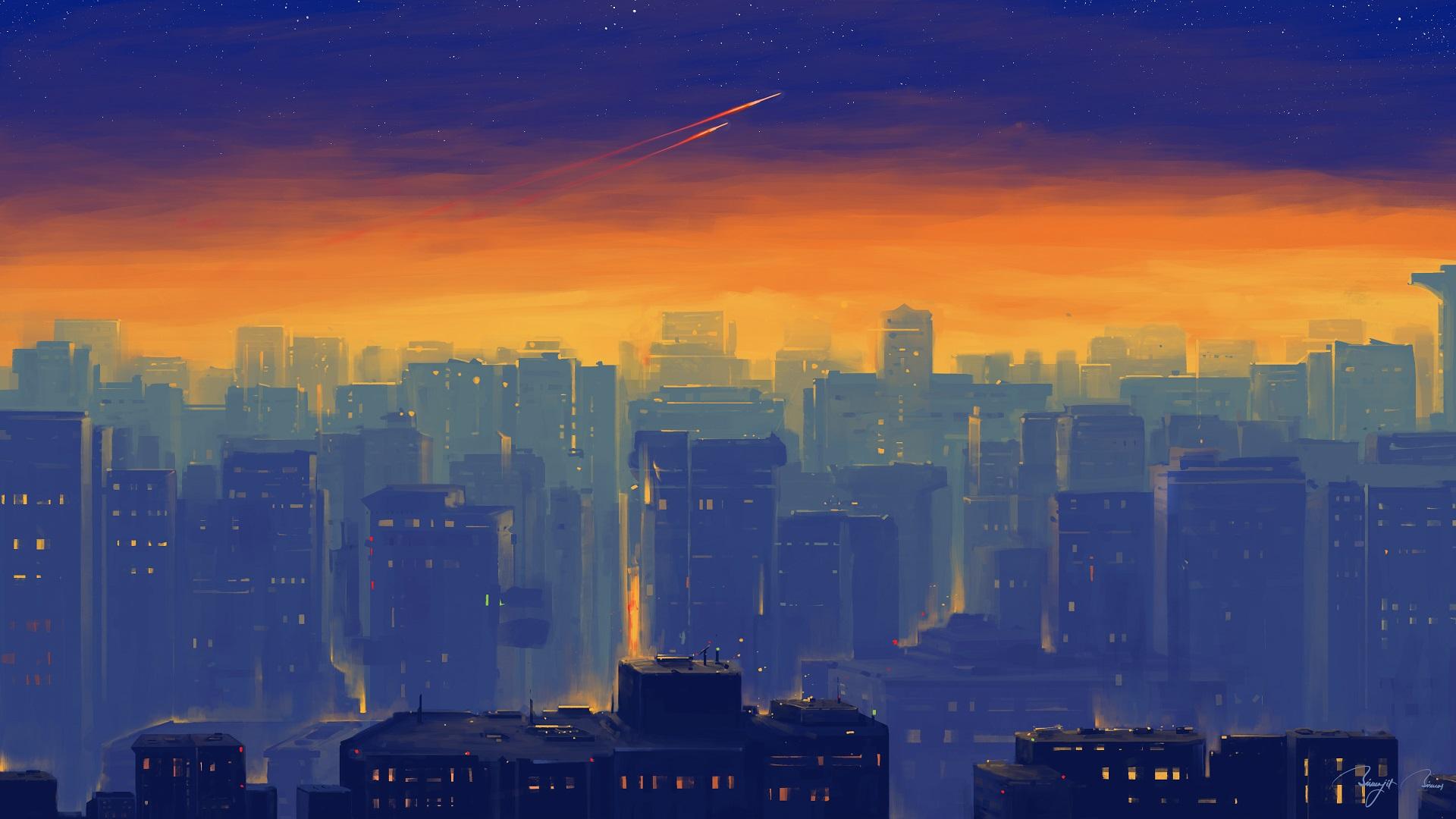 General 1920x1080 BisBiswas painting cityscape comet sunset digital art