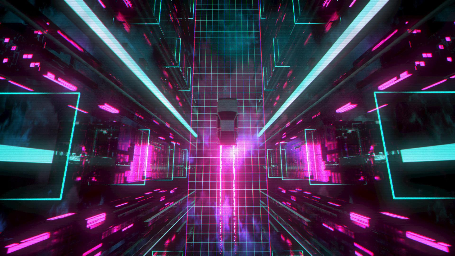 General 1920x1080 David Legnon cyberpunk car traces neon glow neon grid Retrowave pink glowing blue digital art