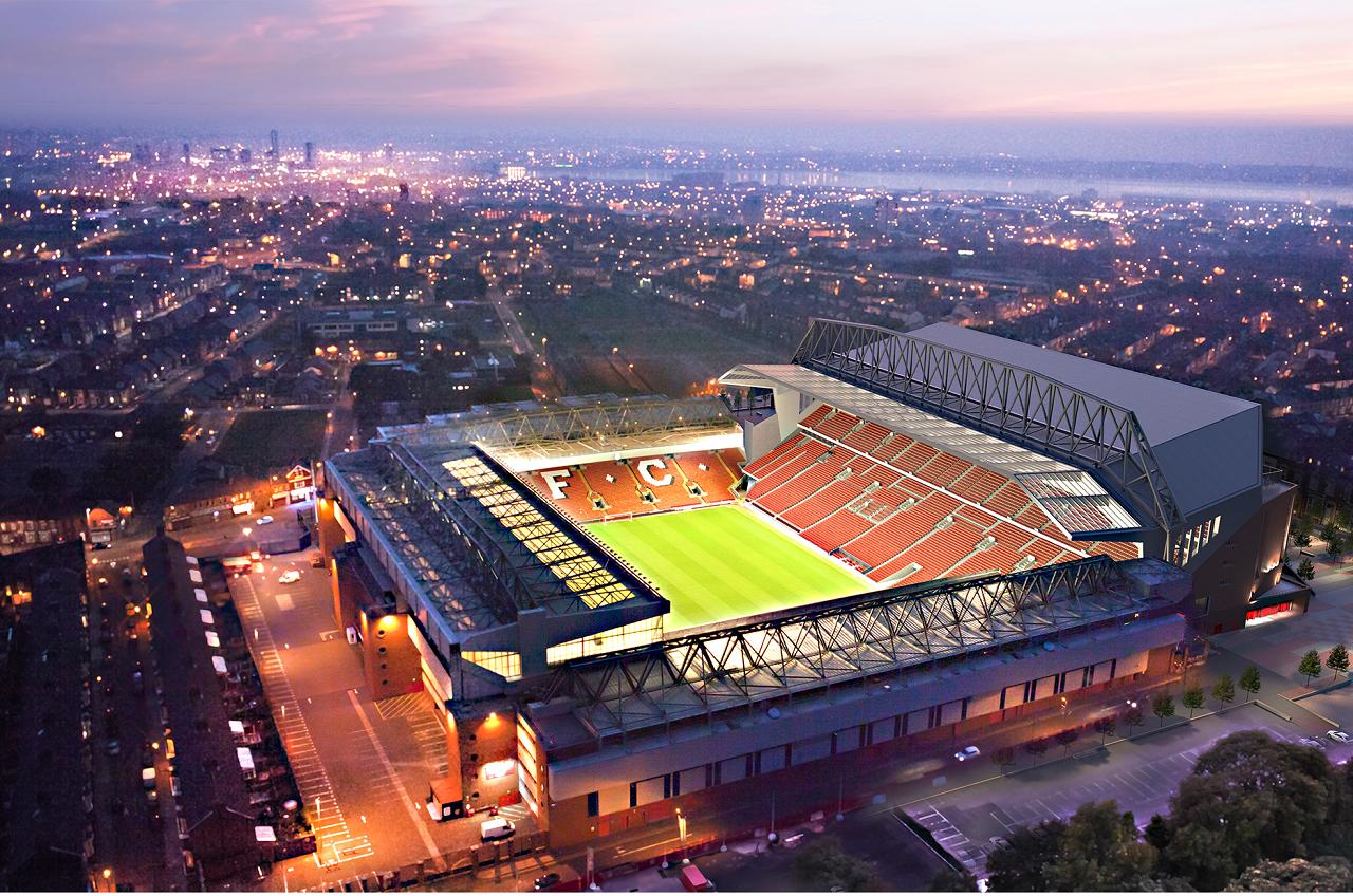General 1280x848 Anfield Road  Liverpool FC Liverpool stadium football stadium city British city lights Mersey (river)