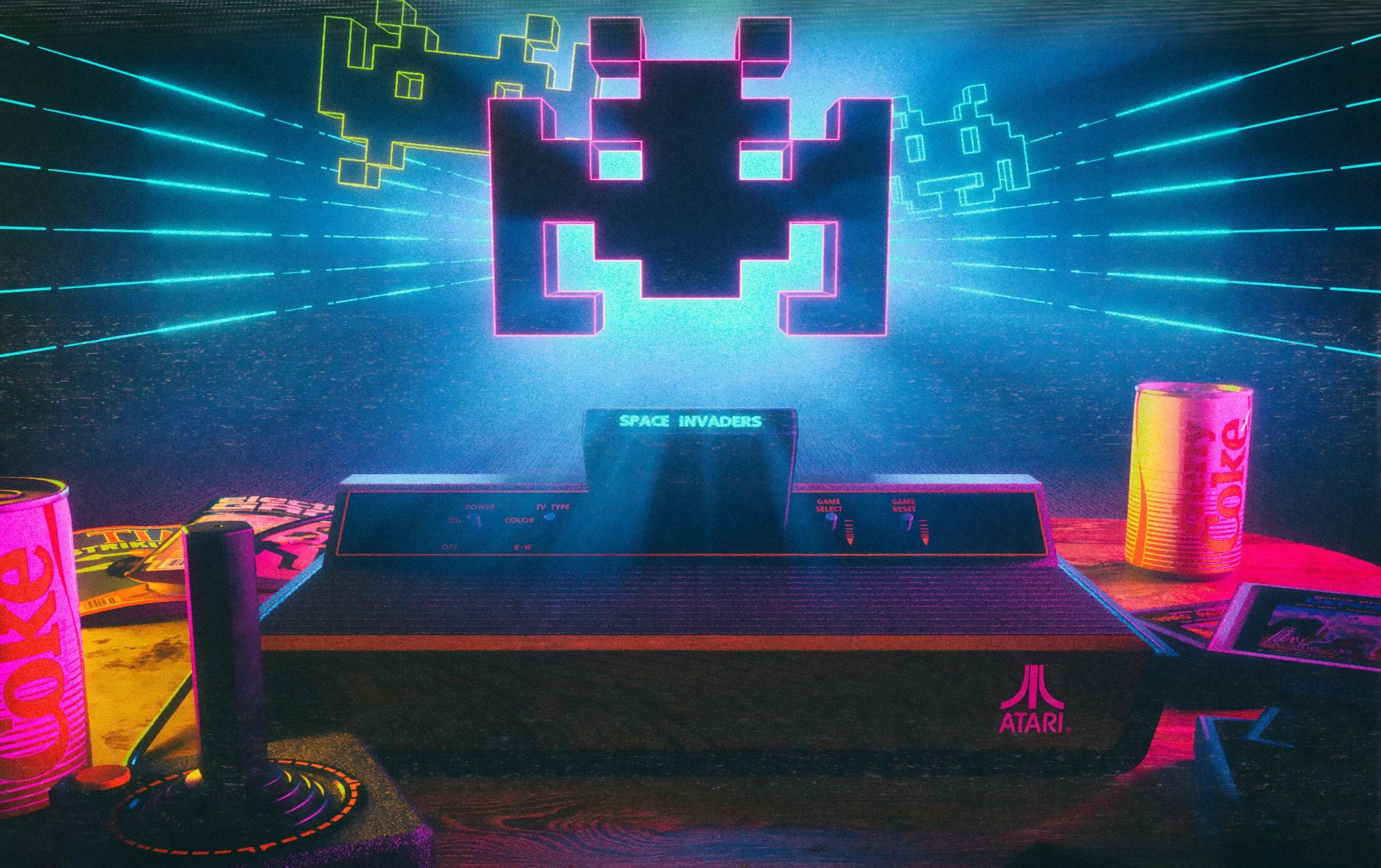 General 2100x1320 video games Space Invaders Atari joystick cherry coke consoles can neon 3D David Legnon film grain