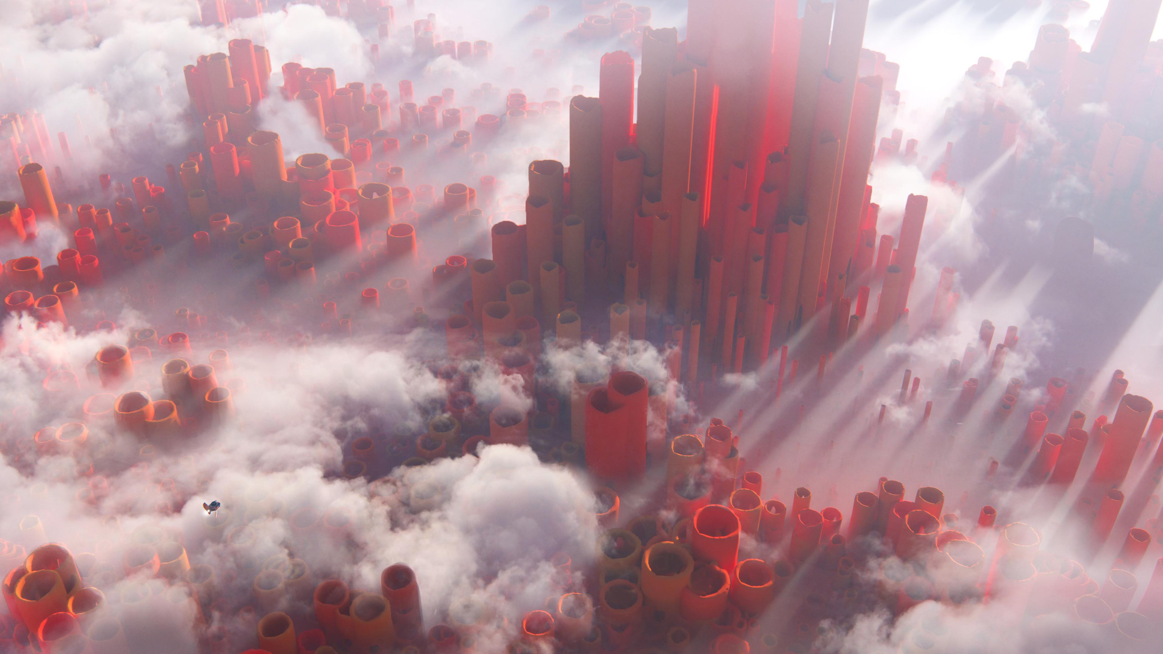 General 3840x2160 Leon Tukker digital art science fiction clouds ship pillar abstract